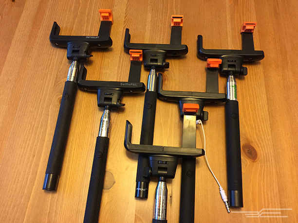 A selection of white-label selfie sticks.