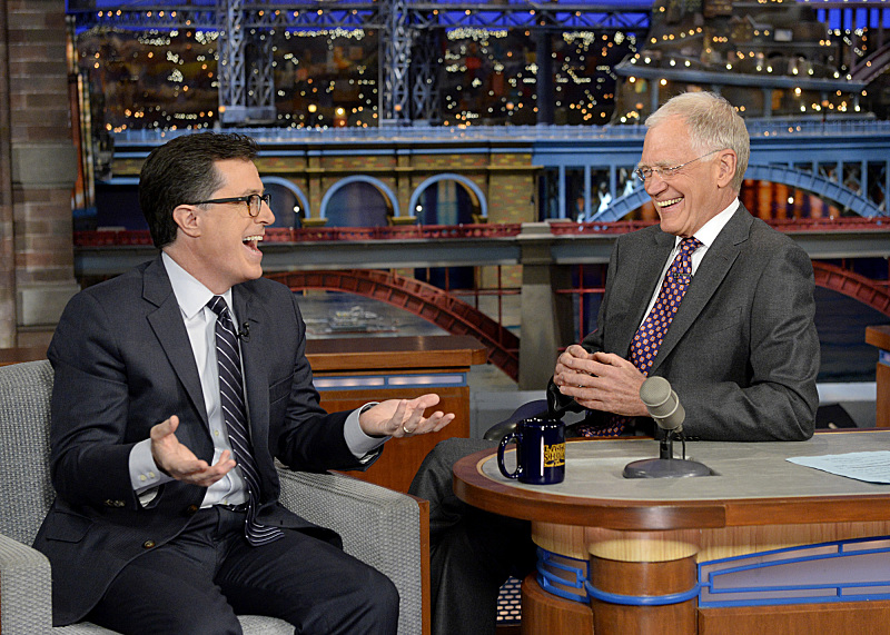 Colbert, with David Letterman on April 22.