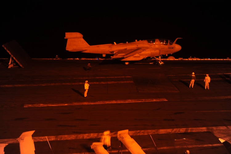 An EA-6B Growler takes off from the USS George W. Bush for strikes against ISIS last fall.