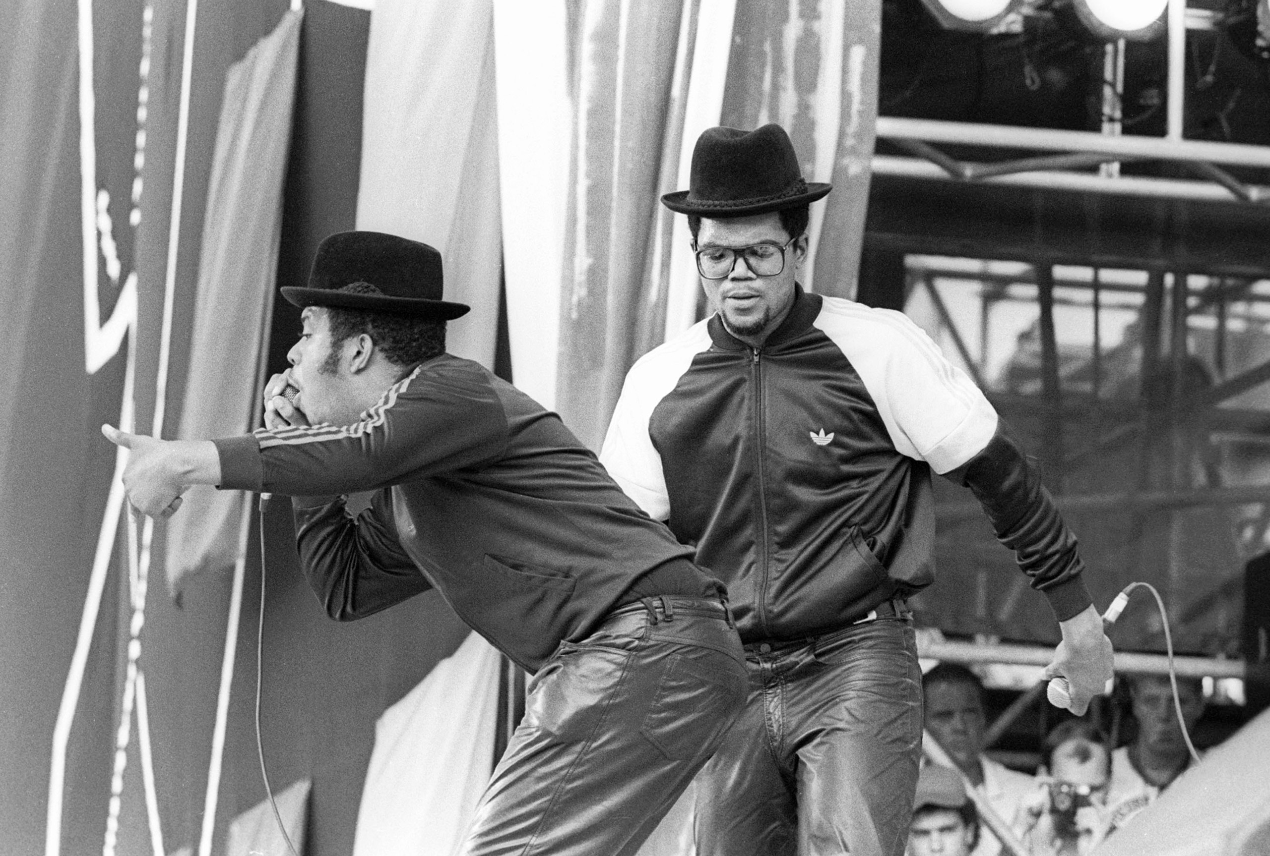 Run DMC performs for a sold out crowd at the Live Aid concert at JFK Stadium in Philadelphia on July 13, 1985.