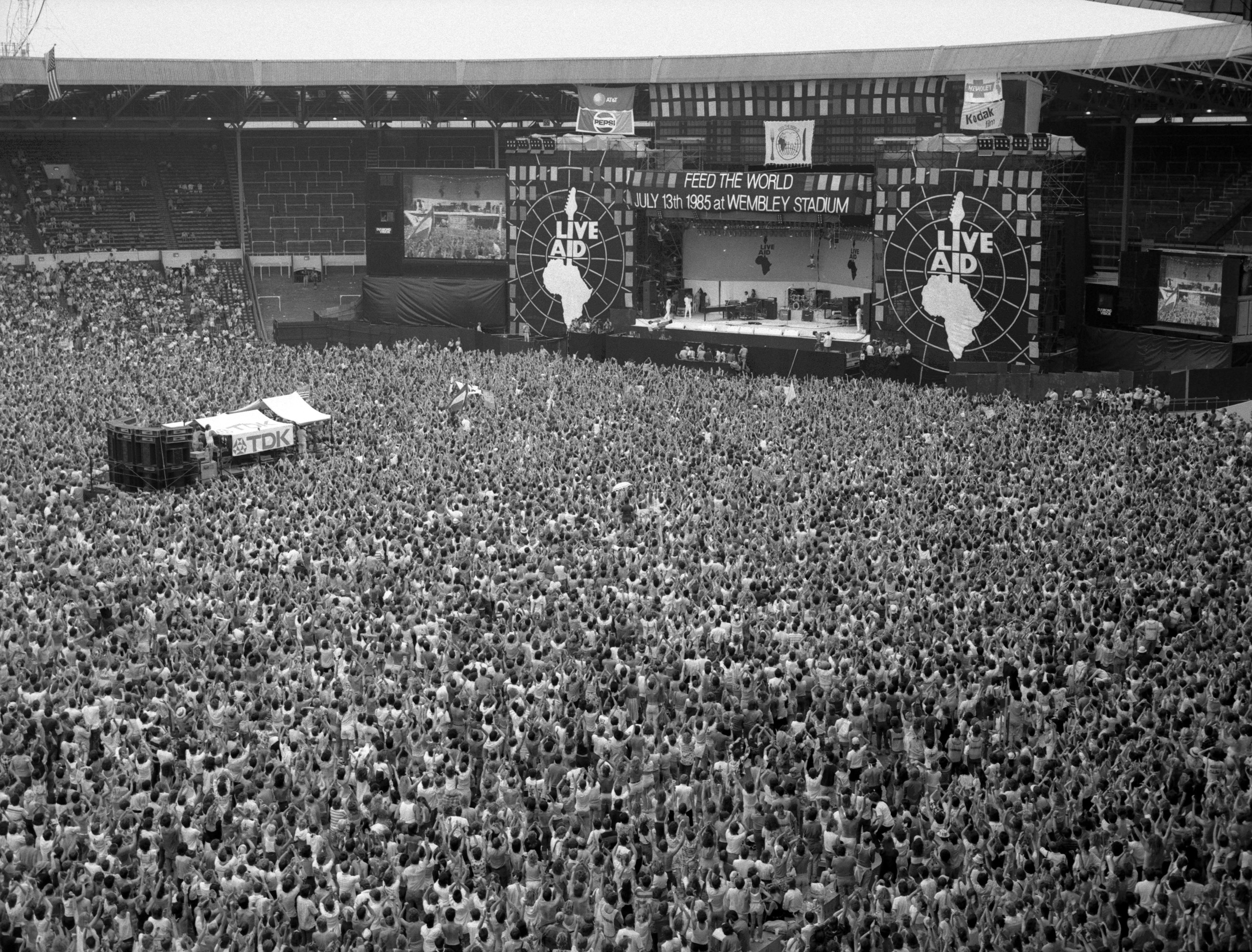 Crowd shot during Live Aid at Wembley Stadium in London, July 13, 1985.