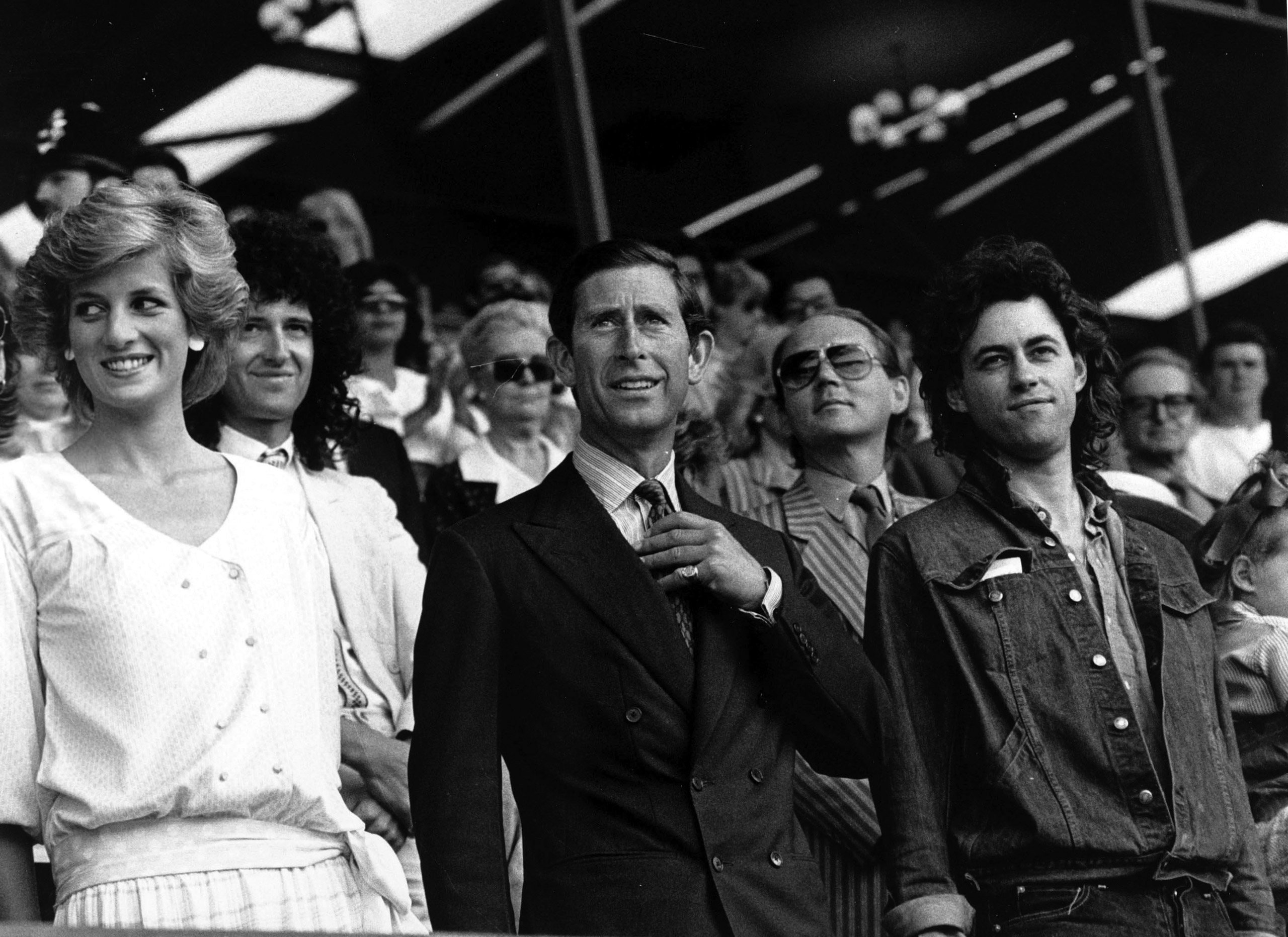 The Prince and Princess of Wales with Bob Geldof at the Live Aid concert at Wembley Stadium in London, July 13, 1985.