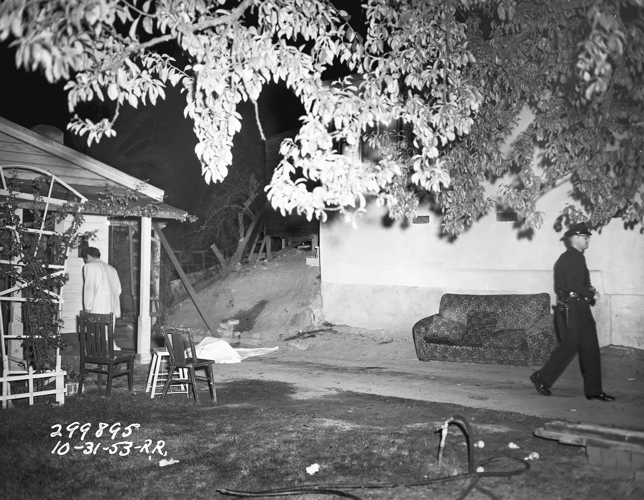 A Halloween crime scene in the City of Angels, complete with a dead body under a sheet on October 31, 1953.