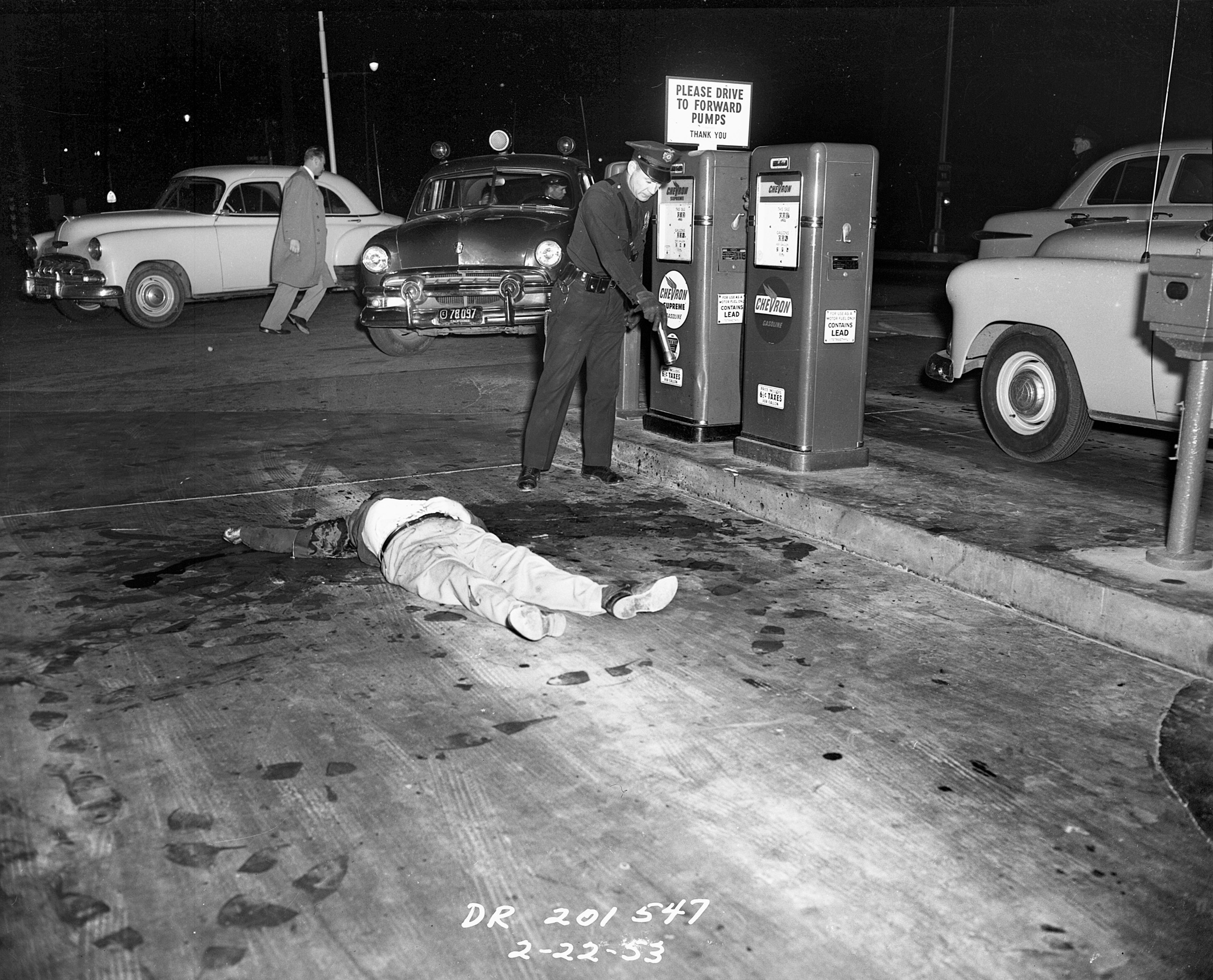 Two drinking buddies had a drunken brawl and the Scotchman beat the Dutchman to death at a gas station on Foothill Boulevard on February 22, 1953.