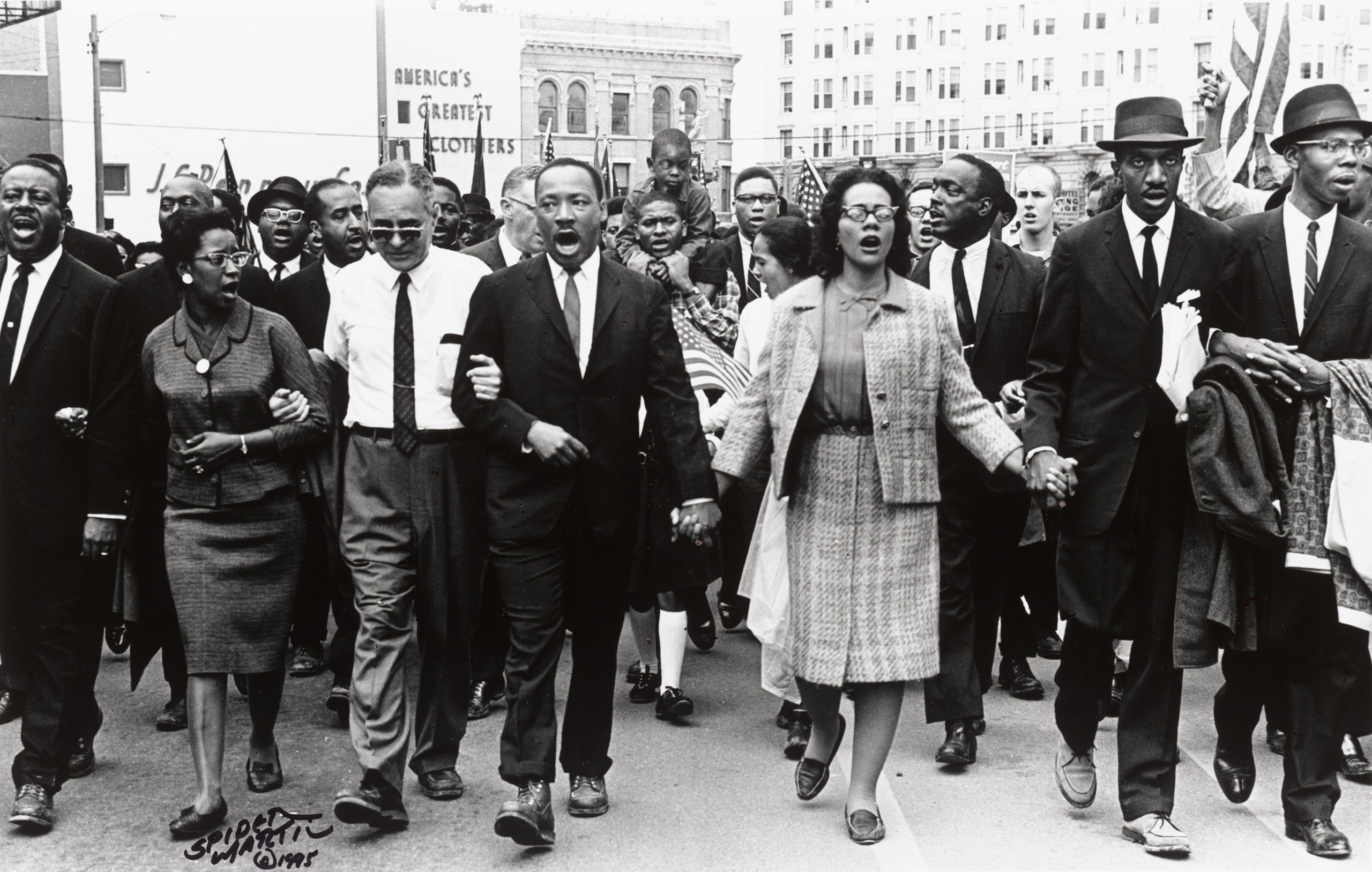 Dr, Martin Luther King and Coretta Scott King coming into Montgomery, 1965.