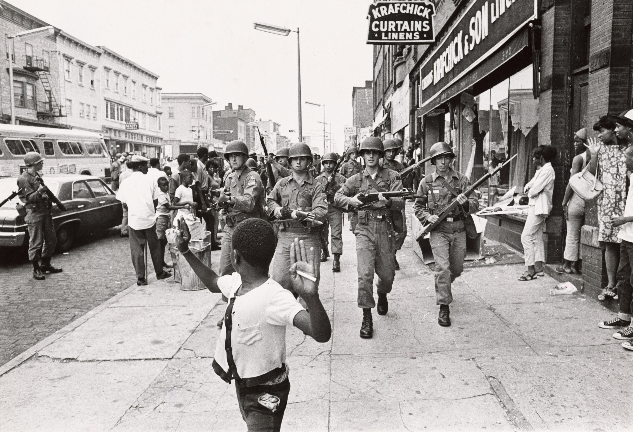 Photograph depicting the rioting in Newark, NJ by residents, following the arrest of a black cabdriver, John W. Smith, by two Newark policemen, John DeSimone and Vito Pontrelli in the summer of 1967.
