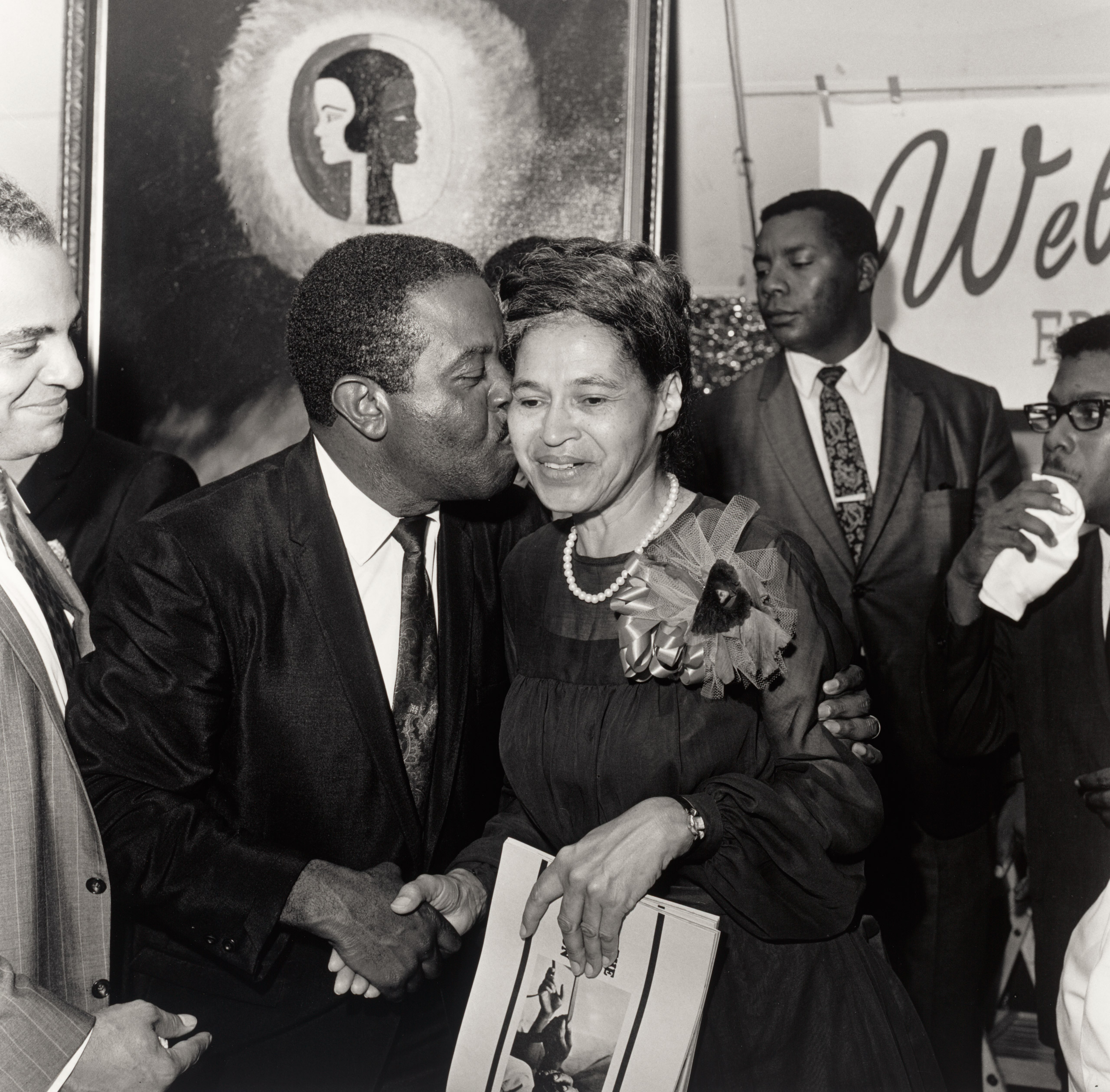 Southern Christian Leadership Conference.                               Rev Ralph Abernathy embracing Rosa Parks, Benjamin Hooks on left, SCLC Convention, Memphis, TN. July 1968.
