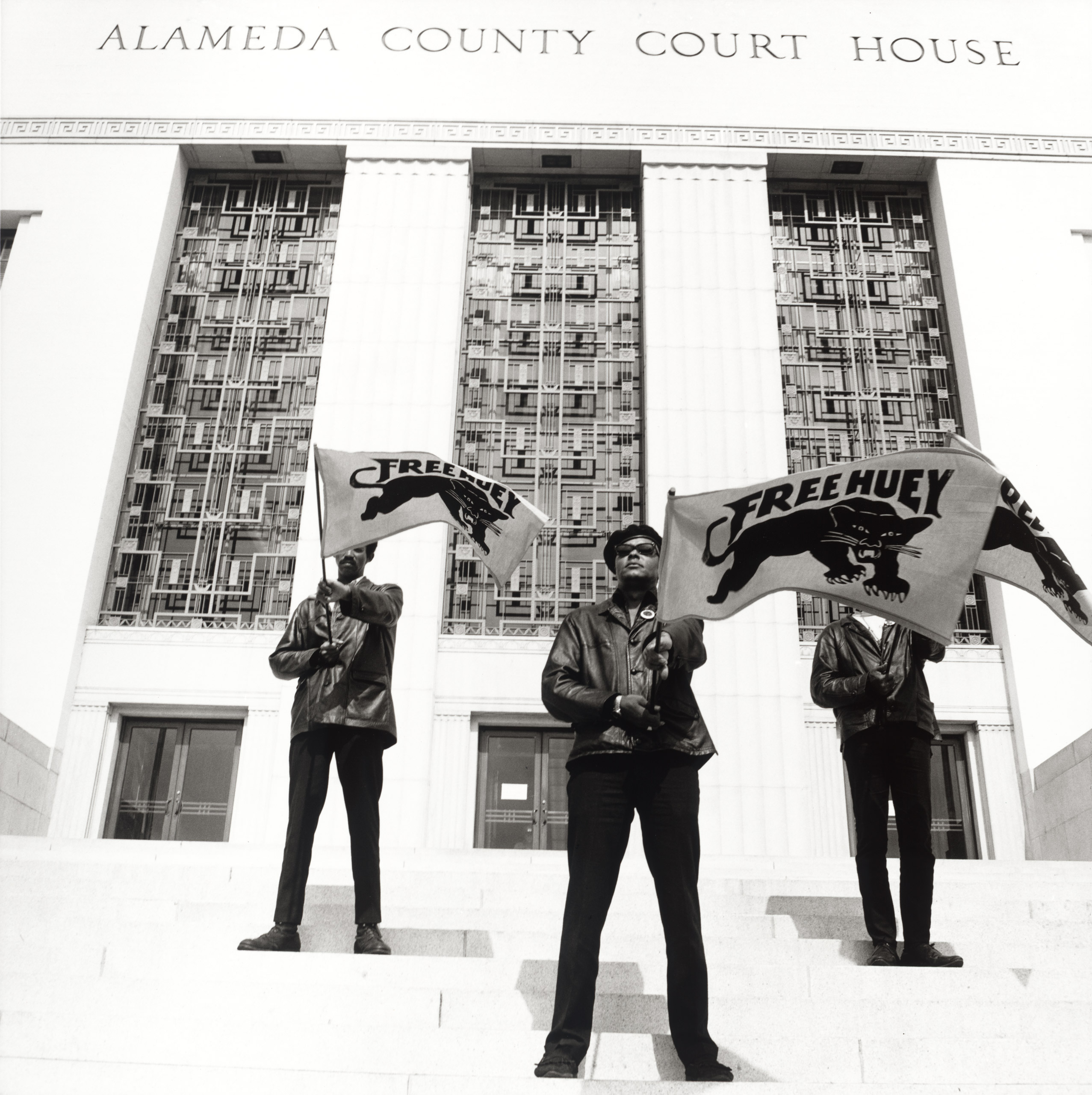 Black Panther demonstration, Alameda Co. Court House,                               Oakland, California, during Huey Newton's trial, #71, July 30, 1968.