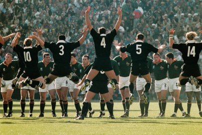 New Zealand's players perform their famous Haka in front of the South African team before the 1995 Rugby Union World Cup final