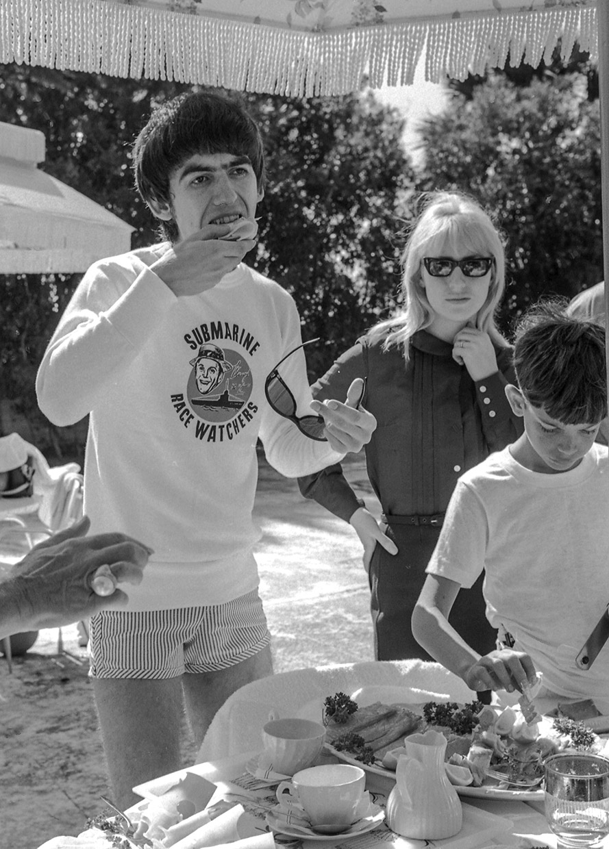 George Harrison eating by the pool, Miami, Florida, February 1964.