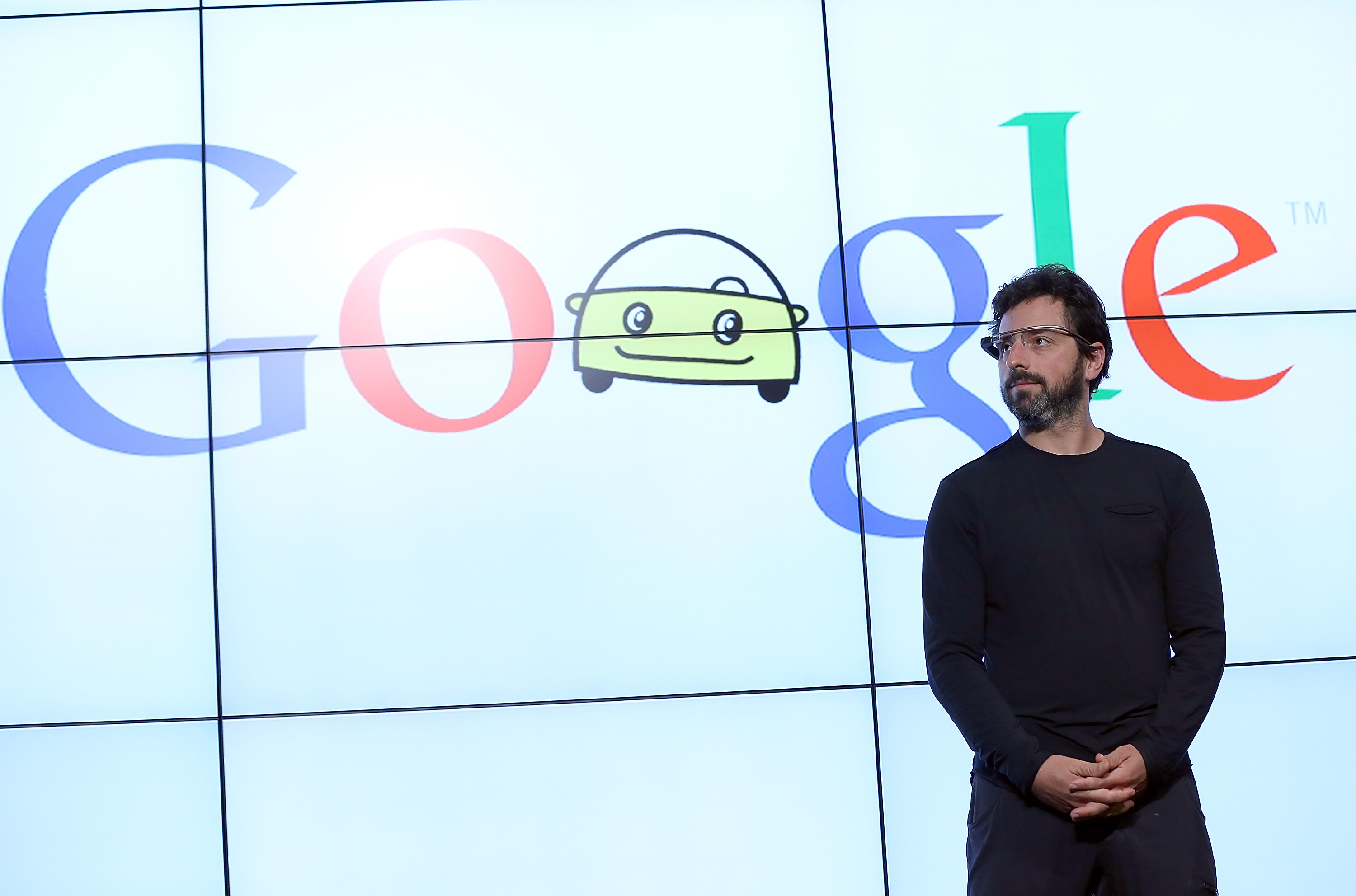 Google co-founder Sergey Brin speaks about driverless cars in September 2012 at Google headquarters.