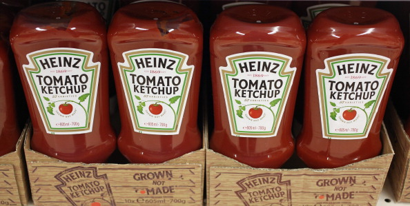 Heinz Co. Tomato Ketchup bottles on display in London on Feb. 15, 2013.