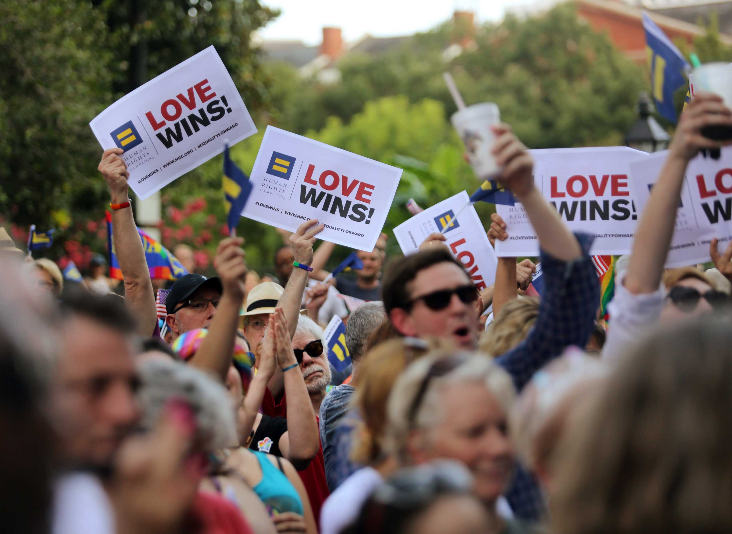 A rally was held in reaction to the Supreme Court legalizing gay marriage in all 50 states by the Forum for Equality, the Human Rights Campaign and the ACLU in Jackson Square on June 26, 2015.