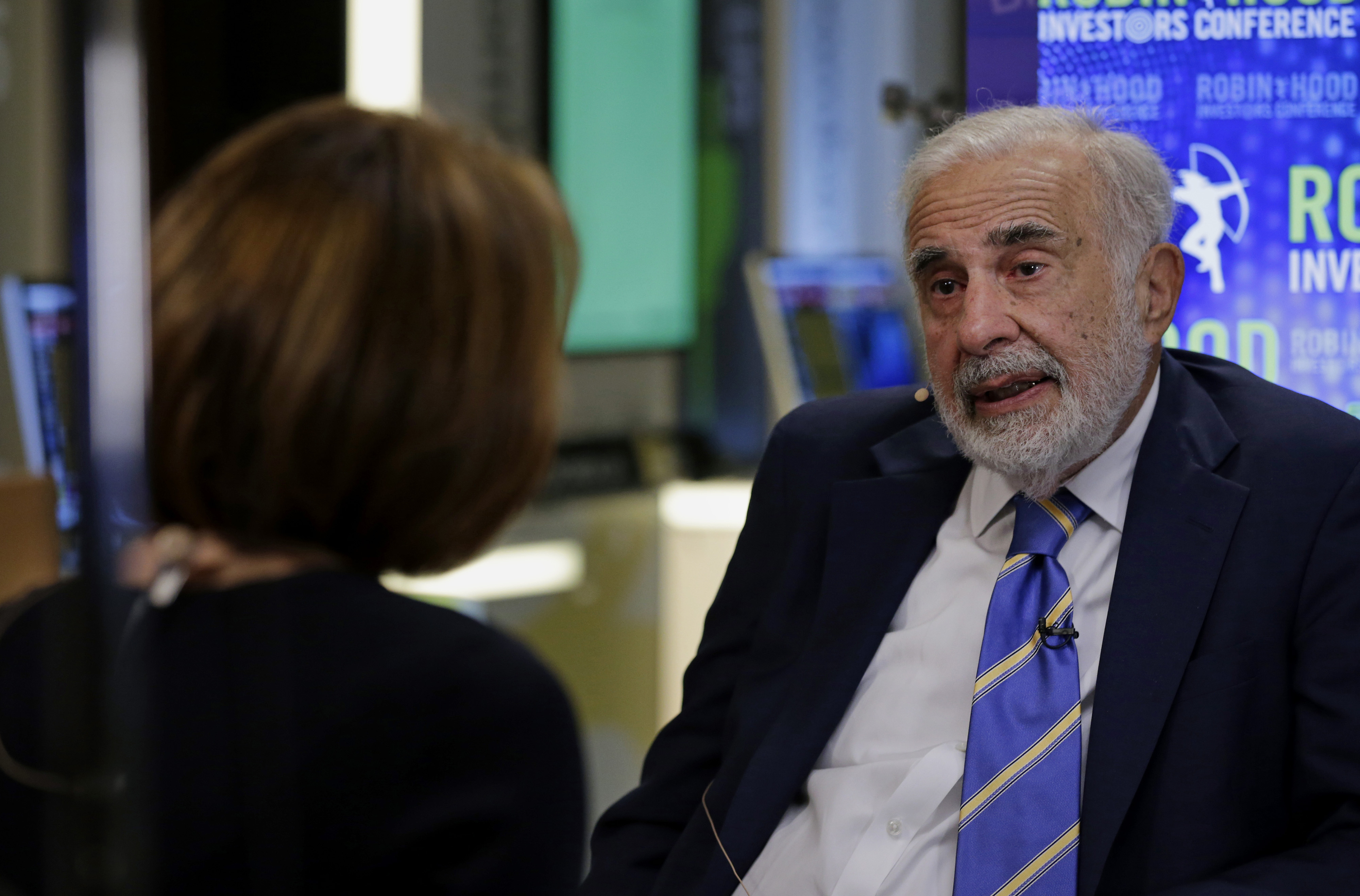 Billionaire activist investor Carl Icahn speaks during a Bloomberg Television interview at the Robin Hood Investors Conference in New York, U.S., on Tuesday, Oct. 21, 2014.