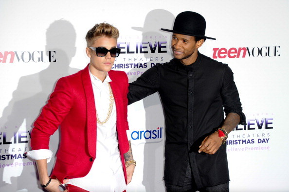 Justin Bieber and Usher attend the premiere of Justin Bieber's Believe at Regal Cinemas L.A. Live in Los Angeles on Dec. 18, 2013