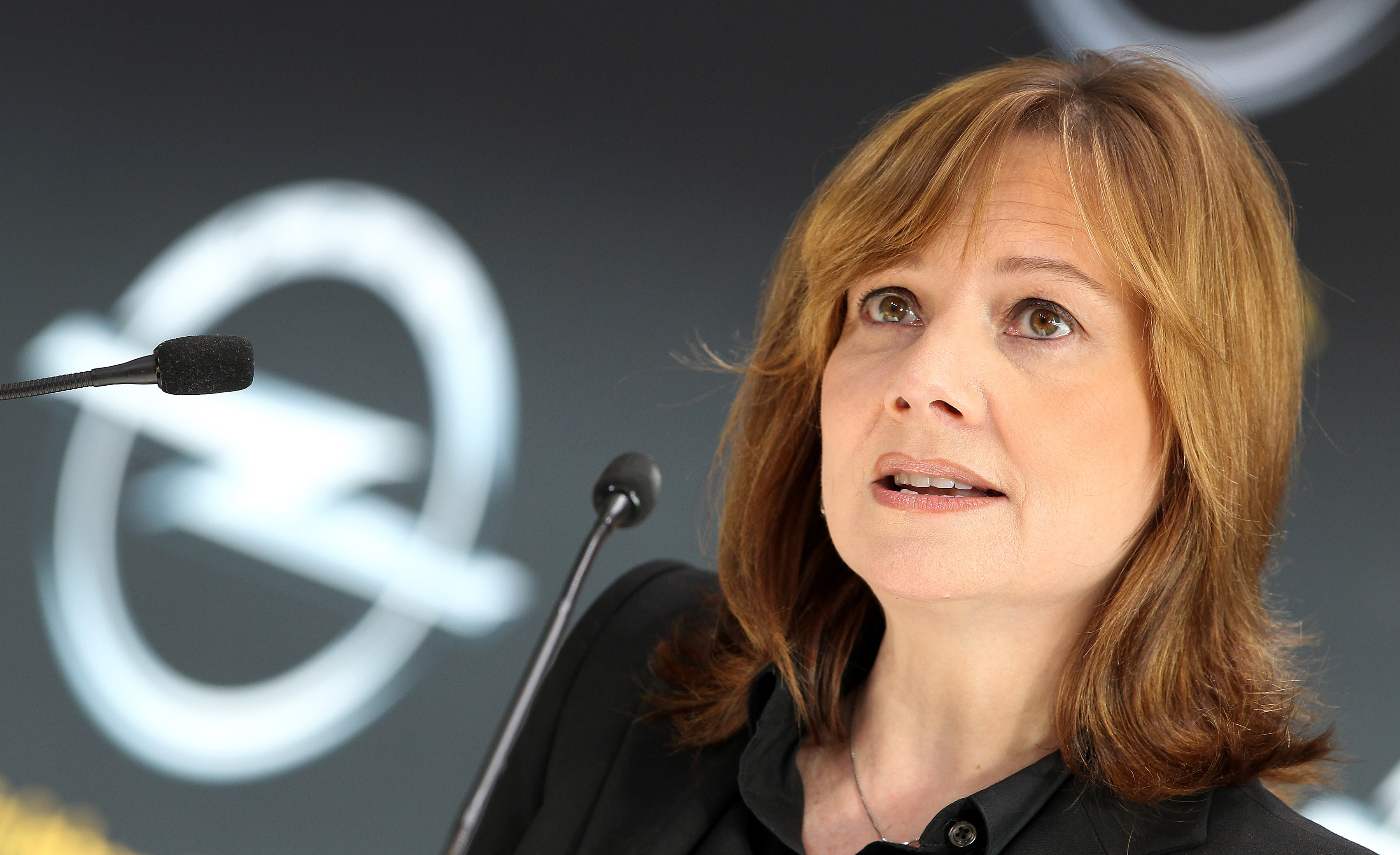 Mary Barra, a new CEO of U.S. carmaker General Motors GM addresses the media during a news conference at the headquarters of the company's German subsidiary Opel in Ruesselsheim, on January 27, 2014.