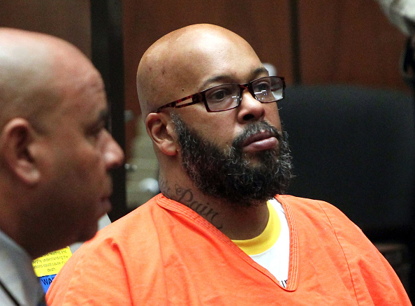 Marion  Suge  Knight appears in court with his lawyer for a preliminary hearing at the Criminal Courts Building in Los Angeles on April 8, 2015.