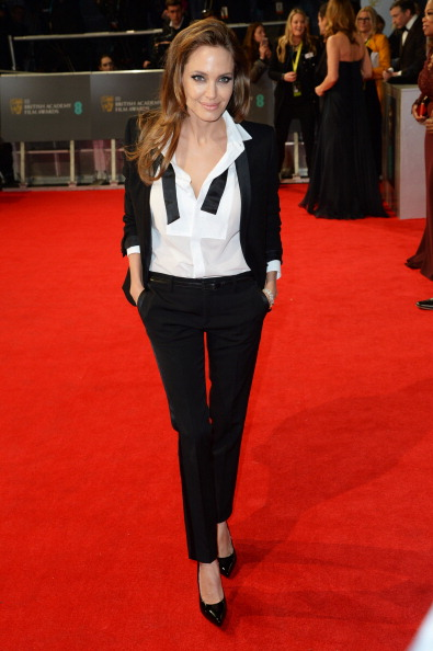 Angelina Jolie attends the EE British Academy Film Awards in London on Feb. 16, 2014.
