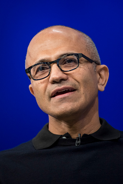 Satya Nadella at the Microsoft Developers Build Conference in San Francisco on April 29, 2015.