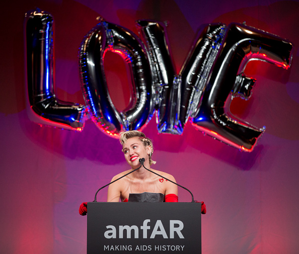 Miley Cyrus gives a speech at the 2015 amfAR Inspiration Gala in New York City on June 16, 2015.
