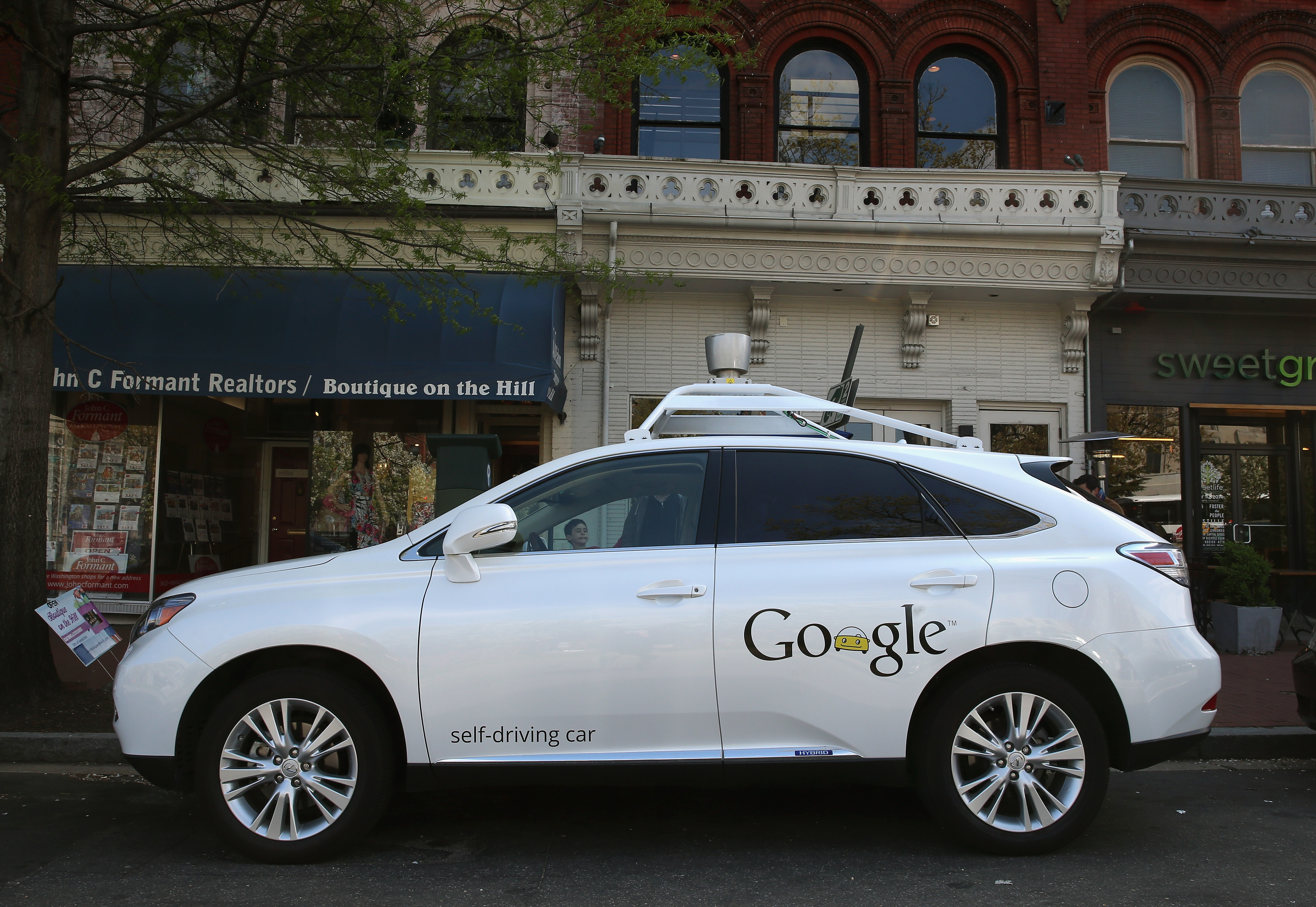 Google's Lexus RX 450H Self Driving Car is seen parked on Pennsylvania Ave. on April 23, 2014 in Washington, D.C.