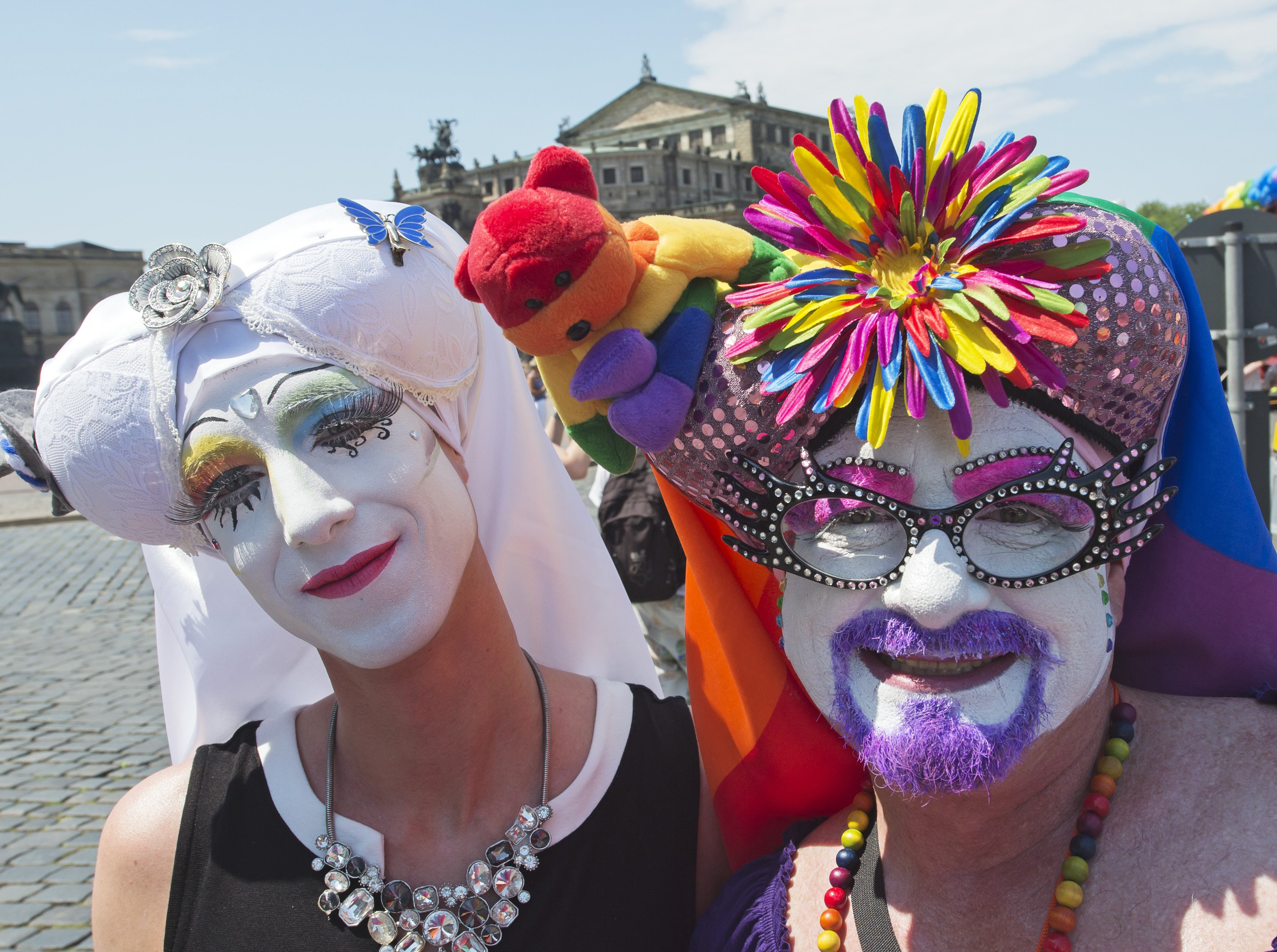 Costumed people attend the Christopher Street Day, CSD, gay pride parade in front of the Semper Opera in Dresden, Germany on June 6, 2015.
