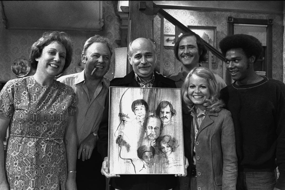 Jean Stapleton as Edith Bunker, Carroll O'Connor as Archie Bunker, show creator: Norman Lear, Rob Reiner as Michael Stivic, Sally Struthers as Gloria Bunker Stivic and Mike Evans as Lionel Jefferson. On the set of 'All in the Family,' Sept. 25, 1971.