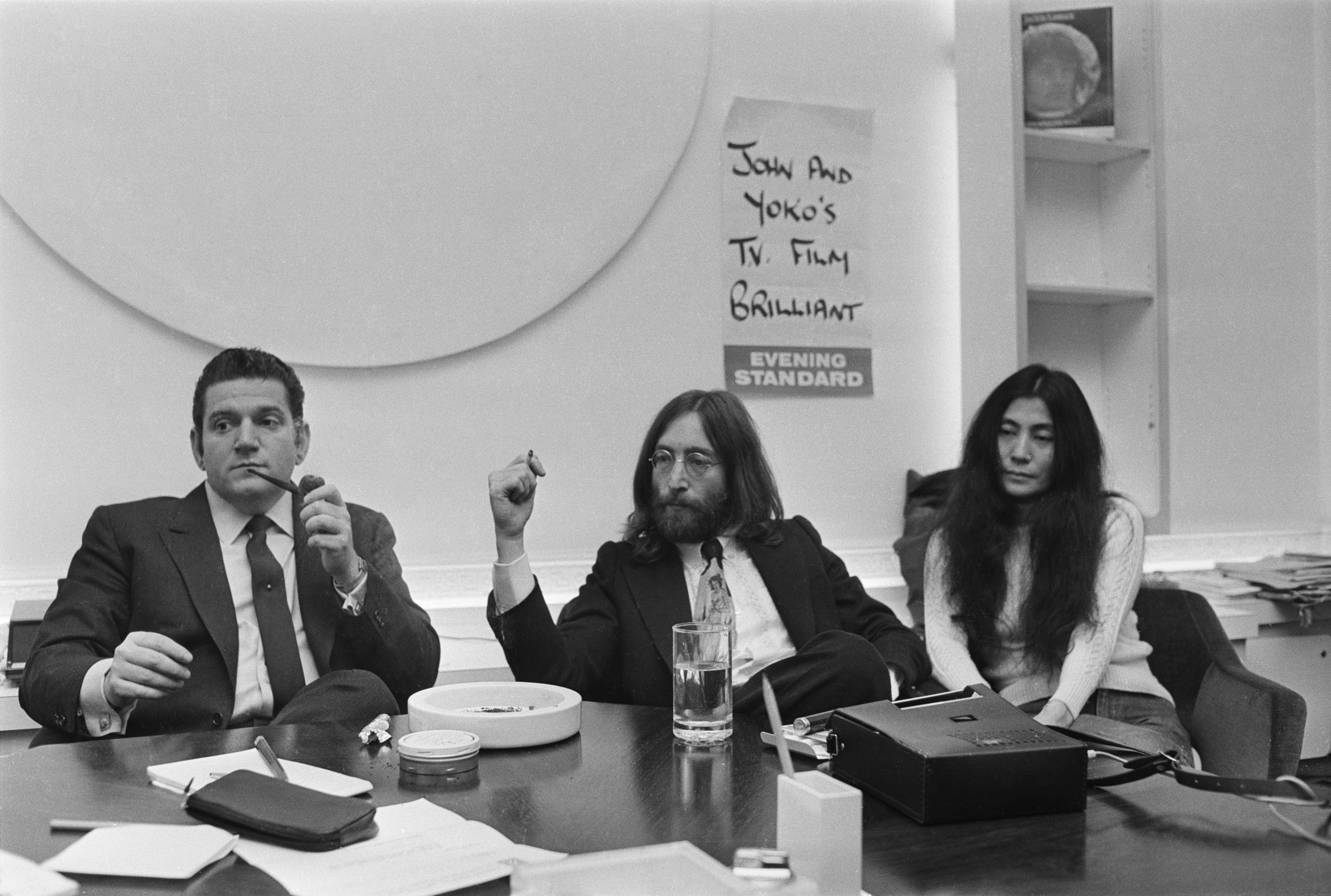 Allen Klein, left,  with John Lennon and Yoko Ono, April 29, 1969. Klein was representing Lennon in negotiations over control of shares in the Beatles' Northern Songs company.