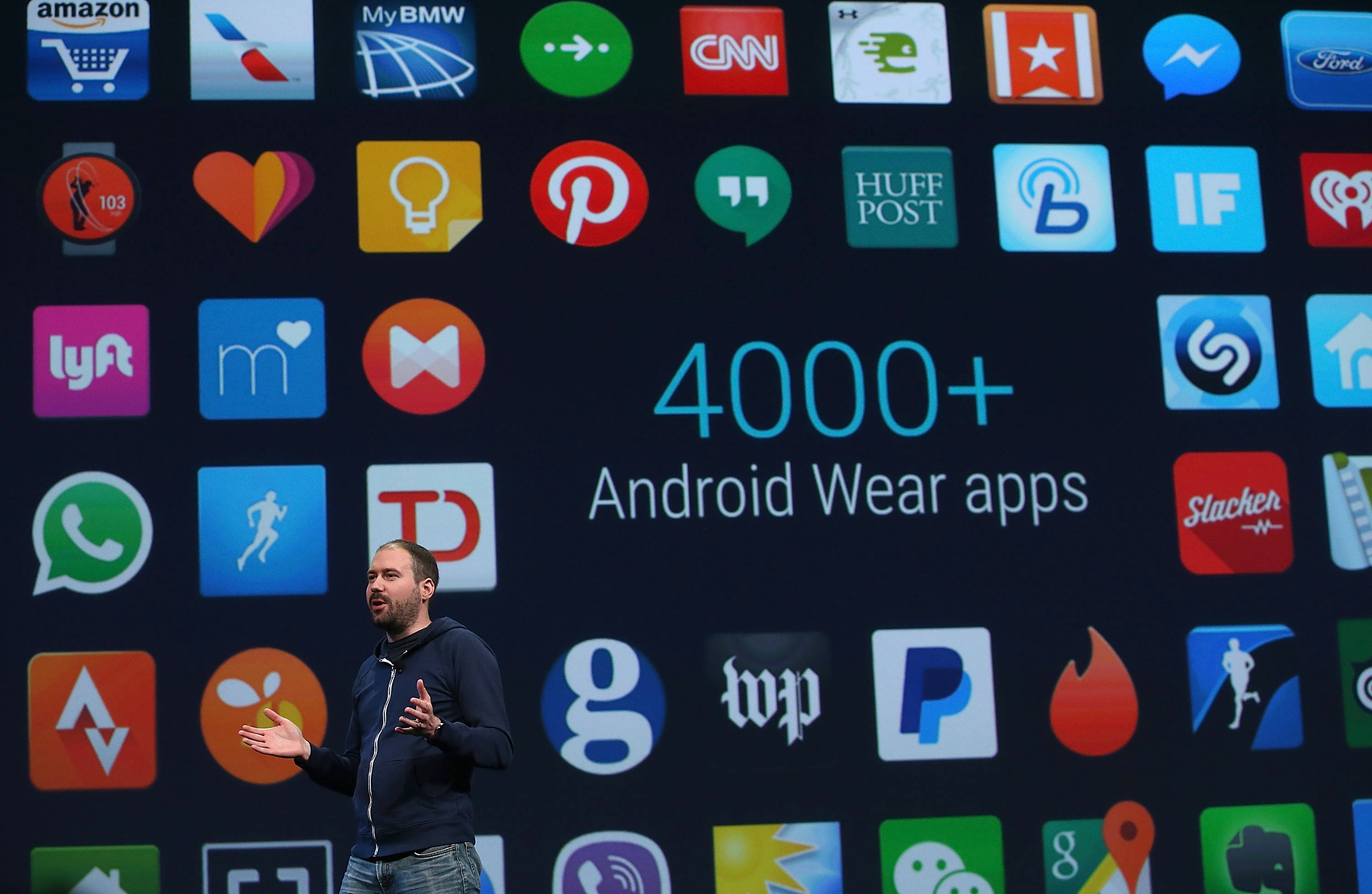 Google said there are now over 4,000 Android Wear apps available, and previewed new Android Wear apps including Uber and Shazam.