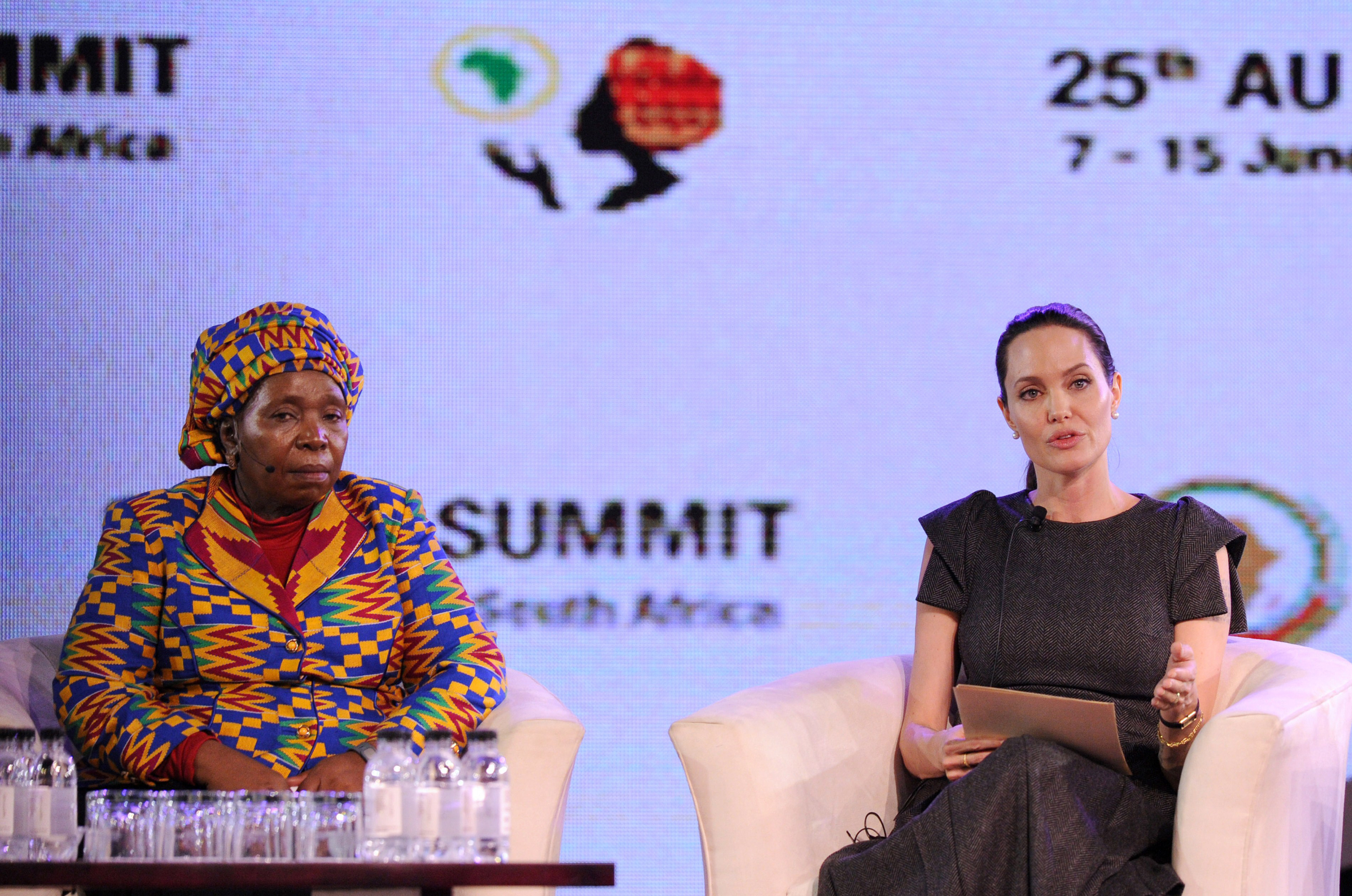African Union Commssion Chairperson Nkosazana Dlamini-Zuma and Angelina Jolie attend a panel discussion on Conflict related Gender Violence during an African Union Summit session in Johannesburg  on June 12, 2015.