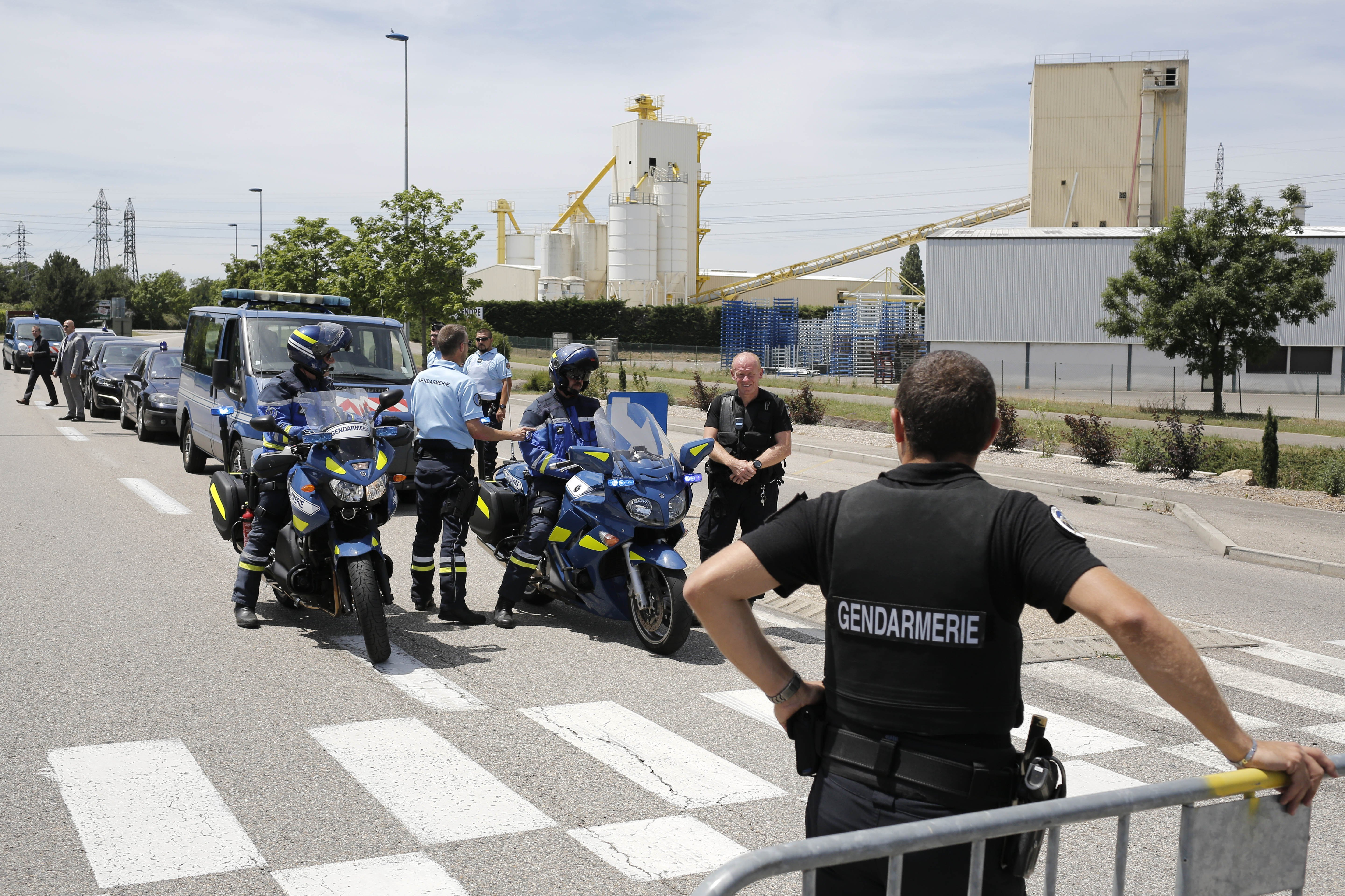 Police block the area where an attack took place in Saint-Quentin-Fallavier, southeast of Lyon, France.