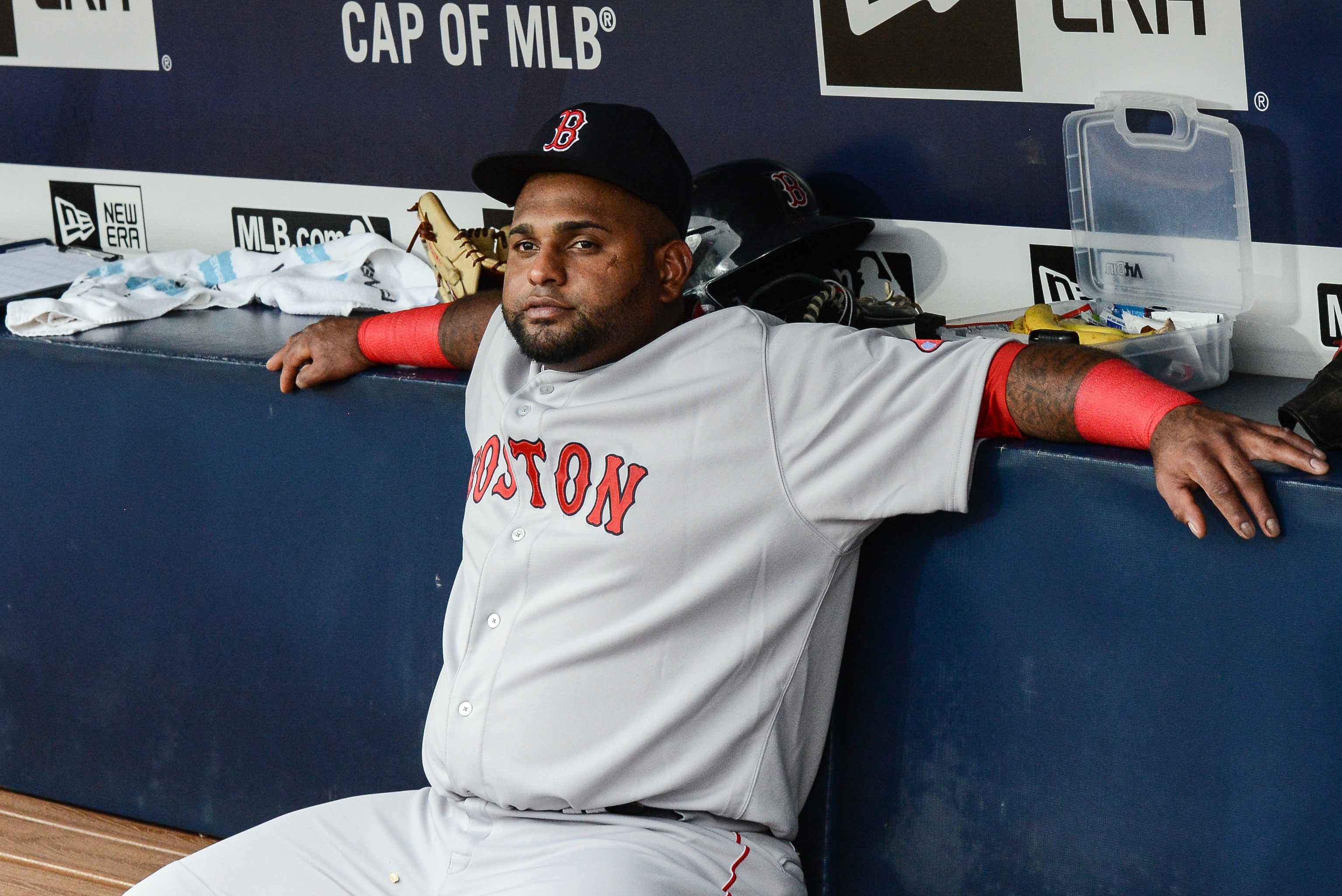 Boston Red Sox third baseman Pablo Sandoval (48) was benched before the start of a baseball game against the Atlanta Braves on June 18, 2015