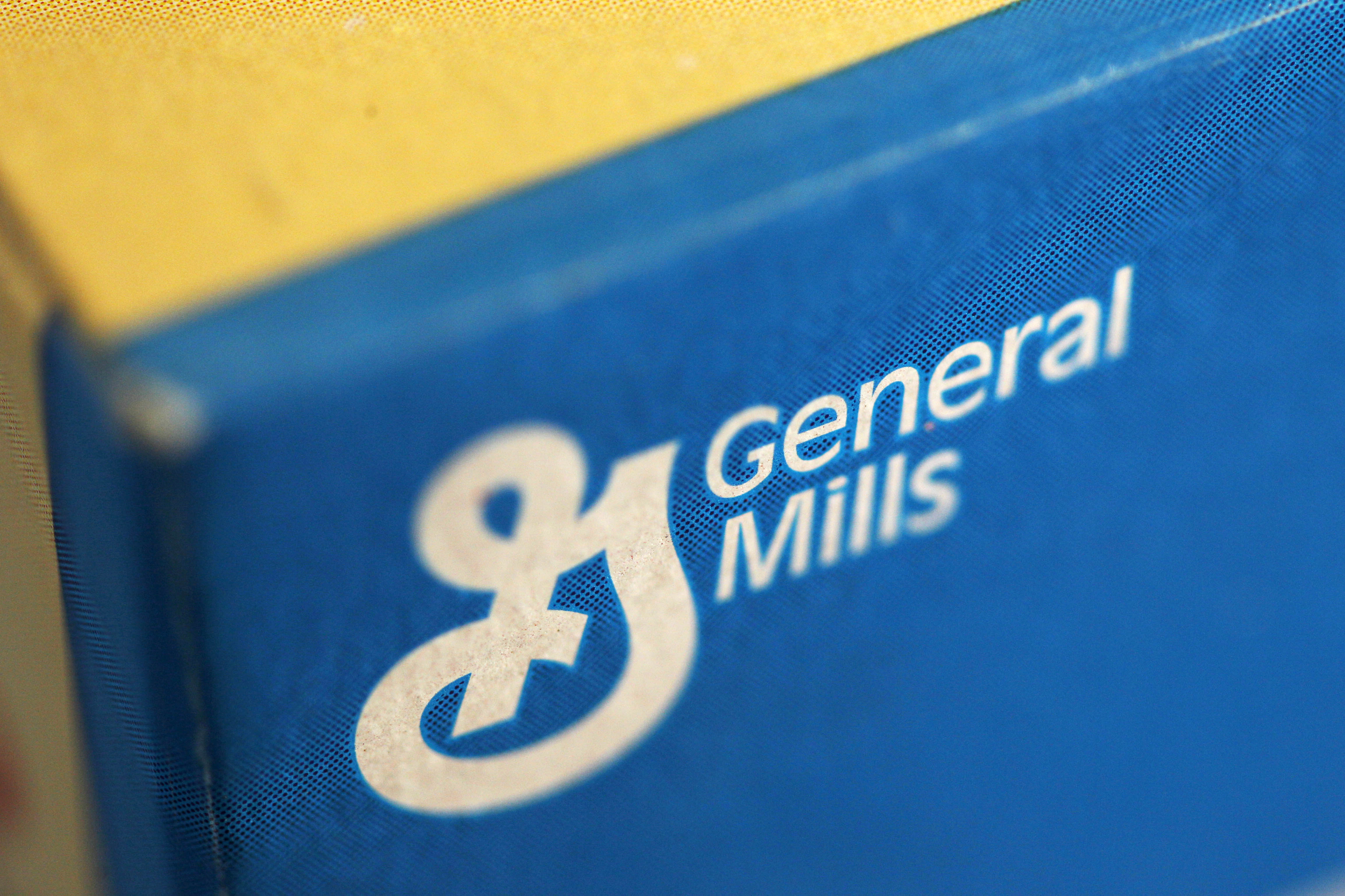 General Mills logo on a cereal box.