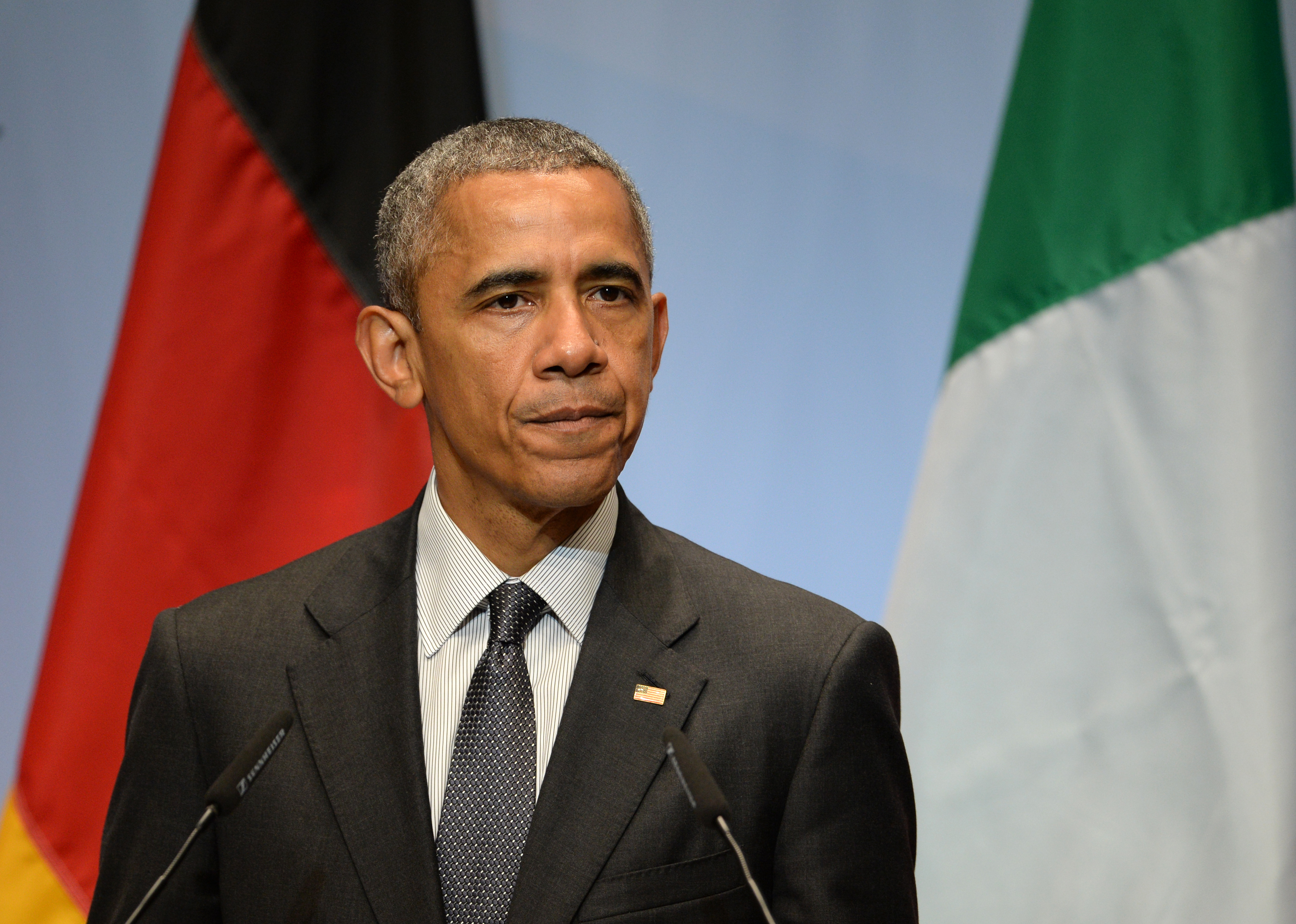 US President Barack Obama speaks at a press conference during the G7 Summit in Schloss Elmau in Elmau,Germany, 08 June 2015.