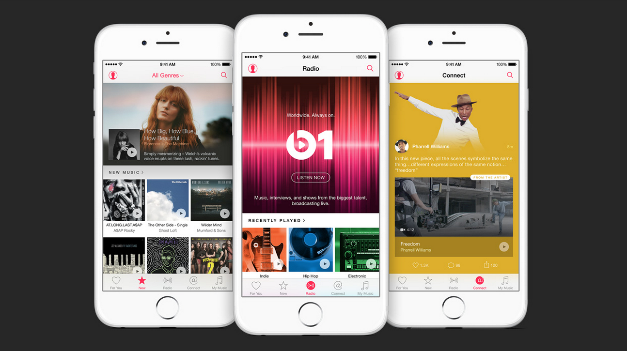 Apple revealed its music service, named Apple Music, with similar features to Spotify. Apple Music is cheaper for family plans, though: Apple's costs $14.99 for up to six people, while Spotify's costs $14.99 for two people.