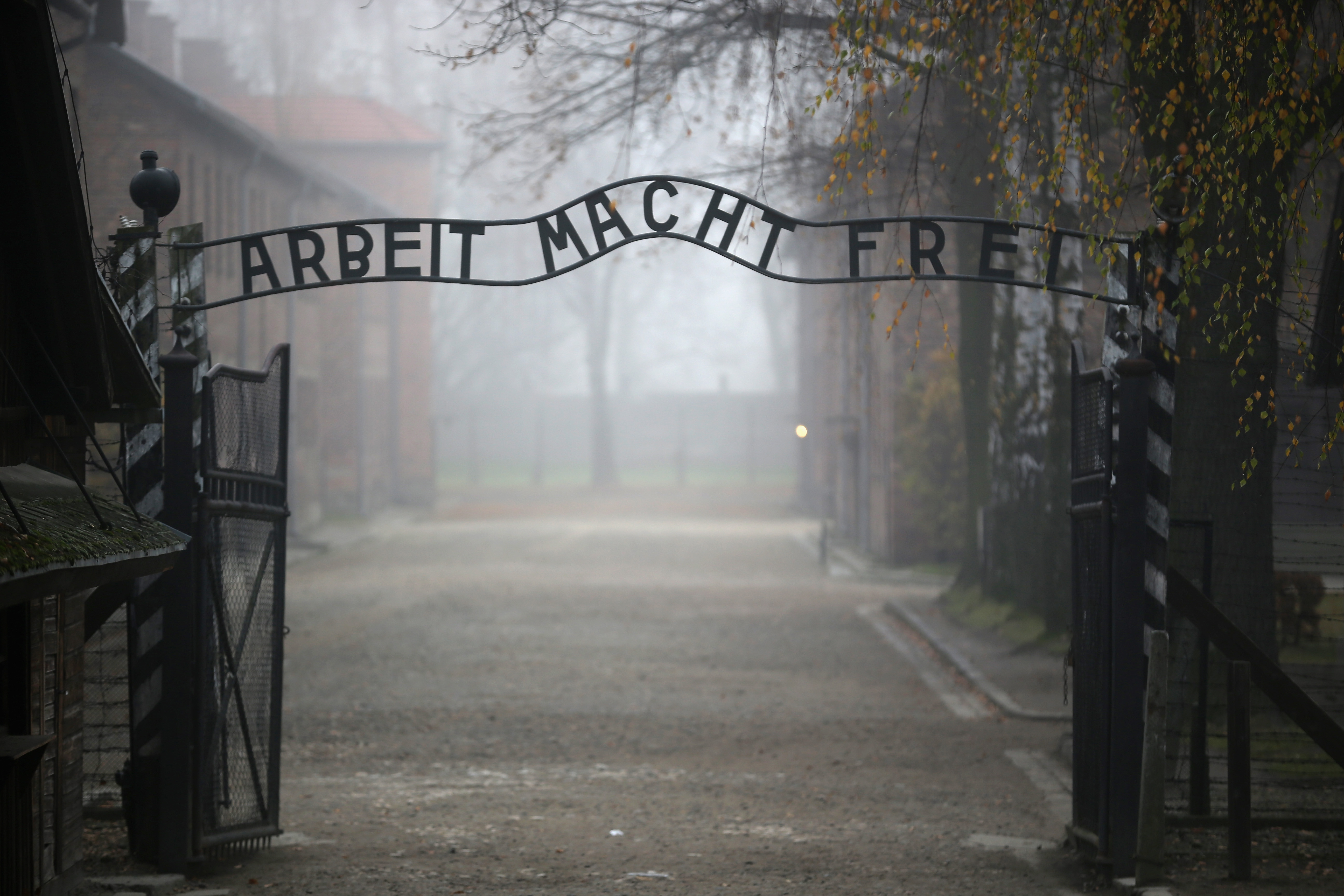 The infamous German inscription that reads 'Work Makes Free' at the main gate of the Auschwitz extermination camp on November 15, 2014 in Oswiecim, Poland.