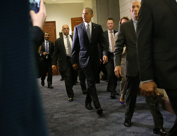 President Barack Obama President Obama departs from a meeting with House Democrats on Capitol Hill June 12, 2015 in Washington, DC.