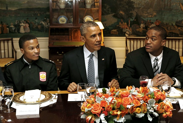 US President Barack Obama has lunch with My Brother's Keeper mentees at the White House in Washington, DC on February 27, 2015.