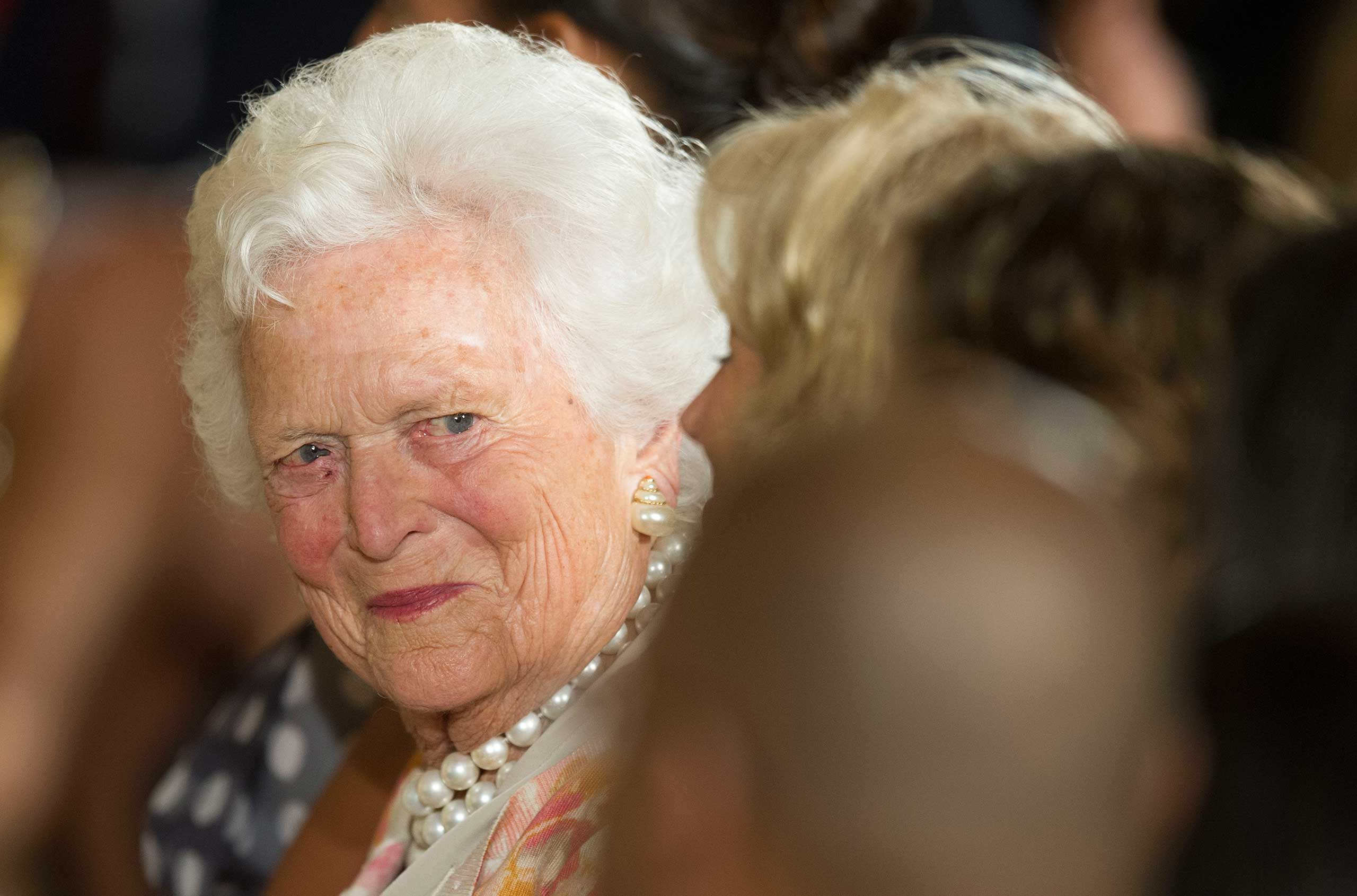 Former first lady Barbara Bush attends a White House ceremony to recognize the Points of Light volunteer program in Washington on July 15, 2013.