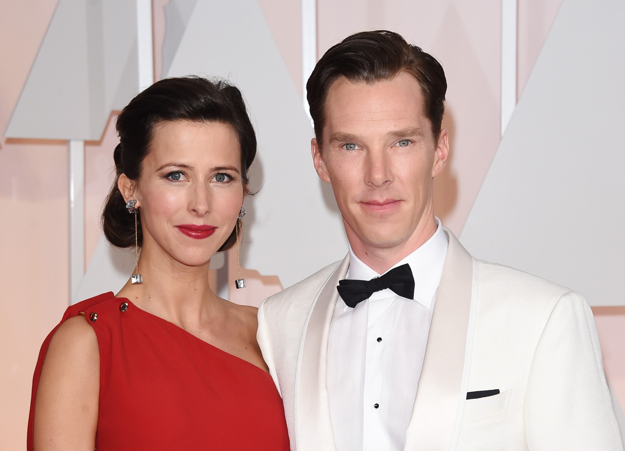 Actor Benedict Cumberbatch (R) and Sophie Hunter attend the 87th Annual Academy Awards at Hollywood & Highland Center on February 22, 2015 in Hollywood, Calif.