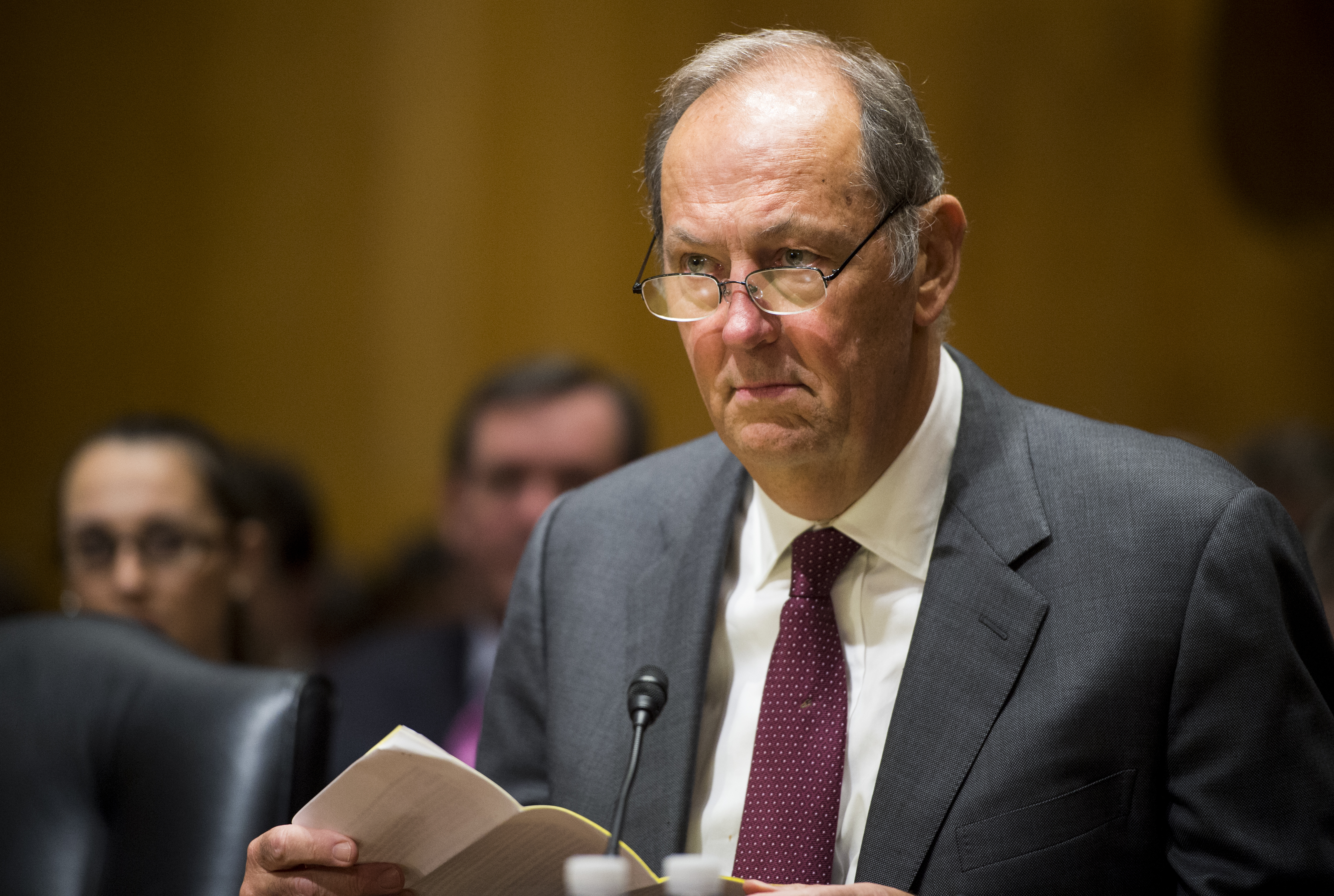 Former Sen. Bill Bradley, D-N.J., takes his seat for the Senate Finance Committee hearing on  Getting to Yes on Tax Reform: What Lessons Can Congress Learn from the Tax Reform Act of 1986?  on Tuesday, Feb. 10, 2015.