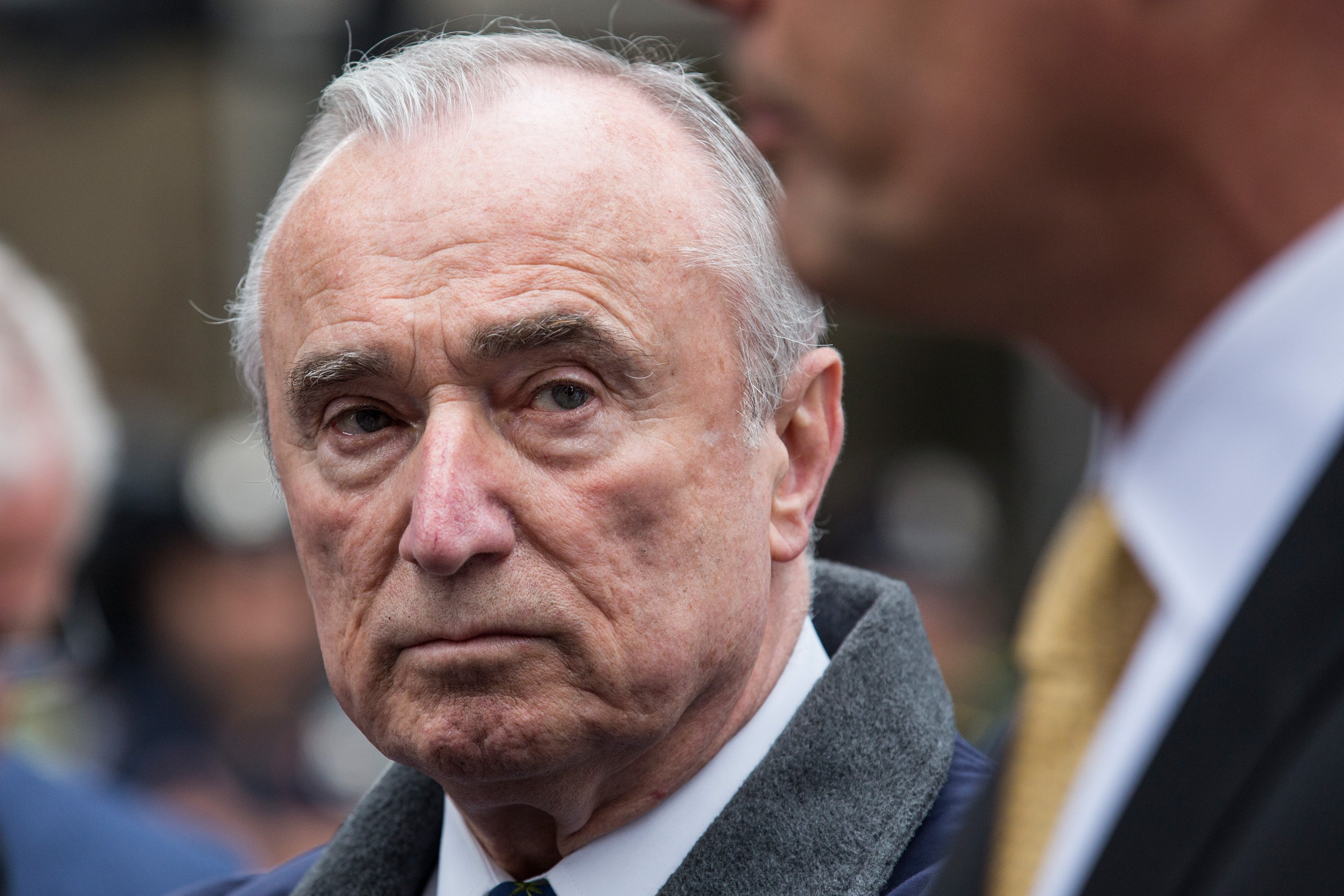 NEW YORK, NY - MAY 13: New York Police Department Commissioner Bill Bratton speaks at a press briefing after a hammer-wielding attacker assaulted a police officer on May 13, 2015 in New York City. The attacker was shot twice by a police officer and is currently in the hospital undergoing medical treatment. (Photo by Andrew Burton/Getty Images)