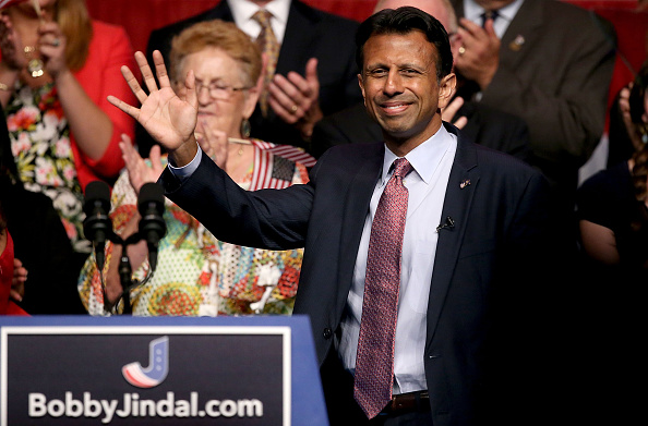 Louisiana Governor Bobby Jindal announces his candidacy for the 2016 Presidential nomination during a rally a he Pontchartrain Center on June 24, 2015 in Kenner, Louisiana.