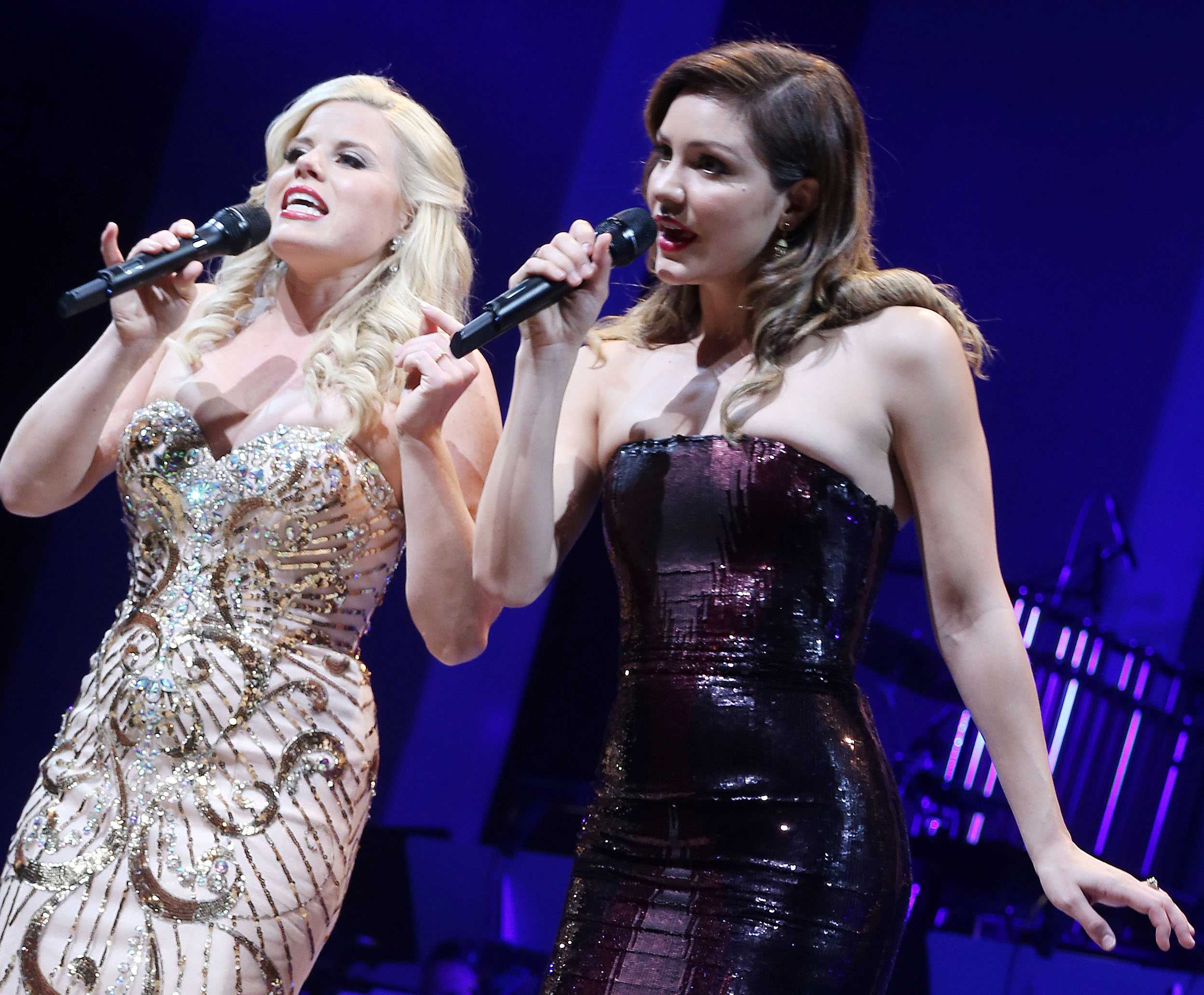 Megan Hilty and Katharine McPhee of the cast of NBC's  Smash  reunite for The Actors Fund of America presents  Bombshell: The Marilyn Monroe Musical  special event closing night performance at The Minskoff Theater on Broadway  in New York City on June 9, 2015.