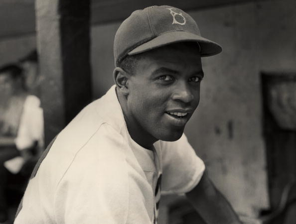 The Brooklyn Dodgers' infielder Jackie Robinson in uniform, circa 1945.