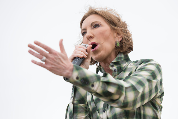 Carly Fiorina, former chairman and chief executive officer of Hewlett-Packard Co. and 2016 U.S. presidential candidate, speaks during the inaugural Roast and Ride in Boone, Iowa, U.S., on Saturday, June 6, 2015.