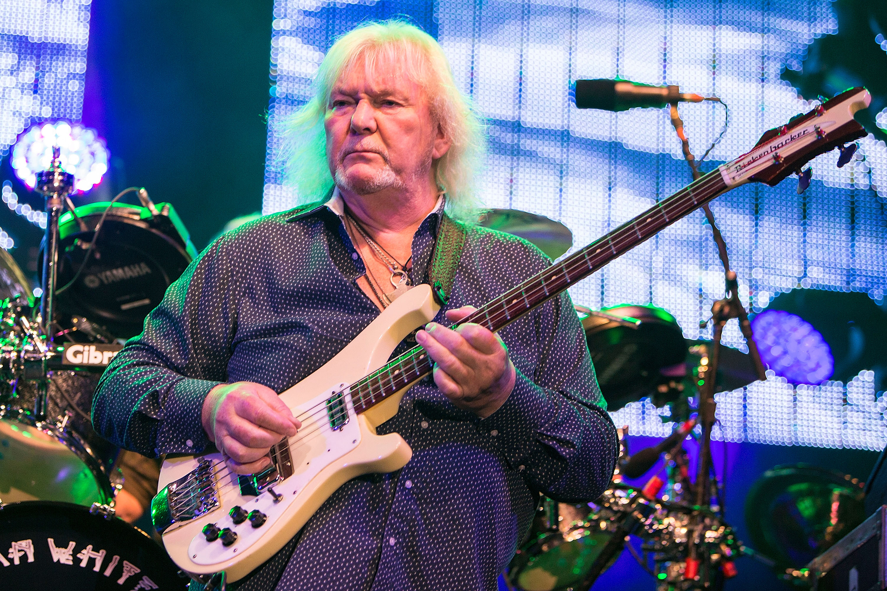 Musician Chris Squire performs on stage with Yes on August 18, 2014 in San Diego, Calif.