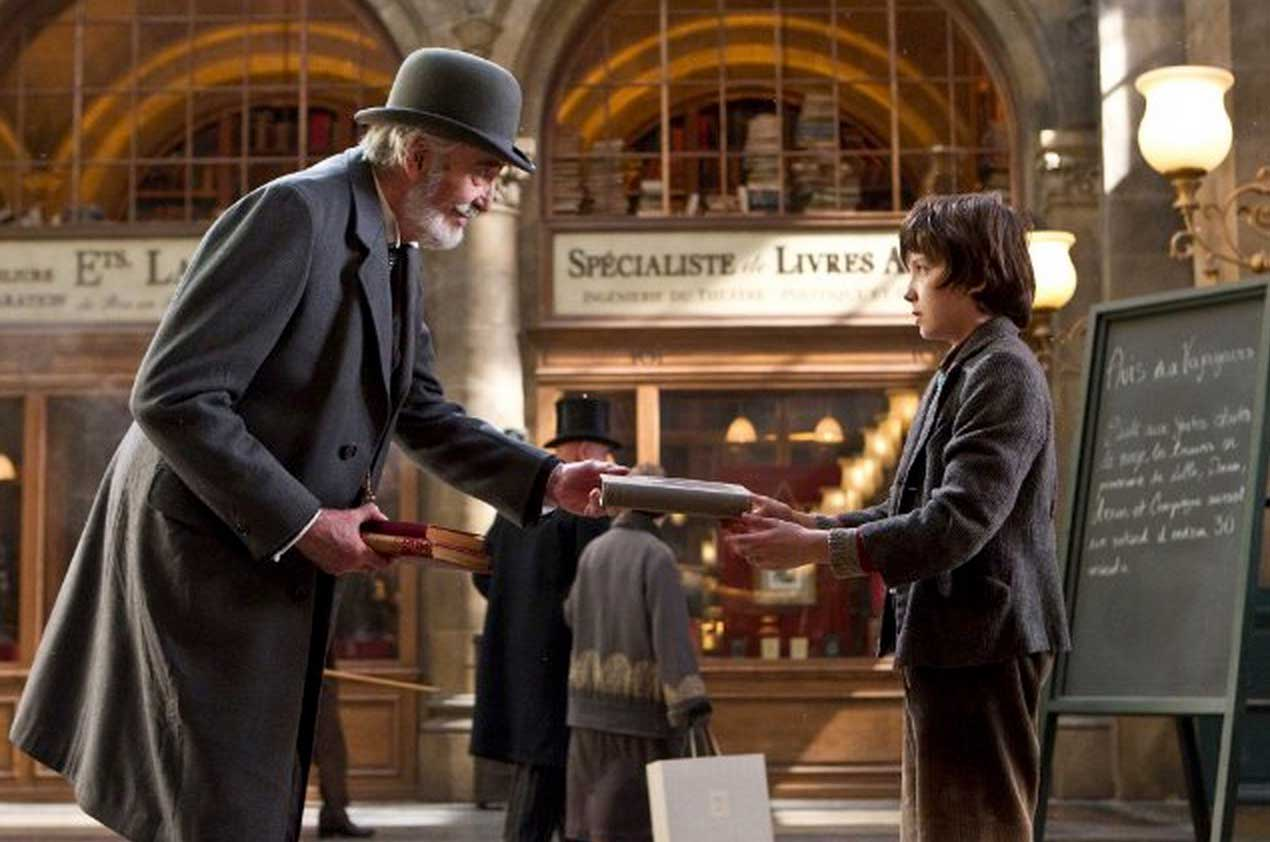 Christopher Lee and Asa Butterfield in Hugo (2011).