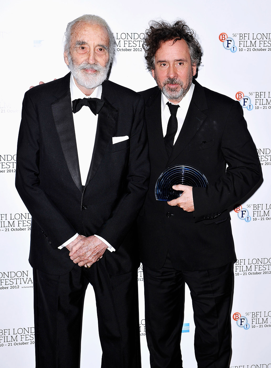 Tim Burton and Christopher Lee during are seen during the 56th BFI London Film Festival Awards at the Banqueting House on Oct. 20, 2012 in London.