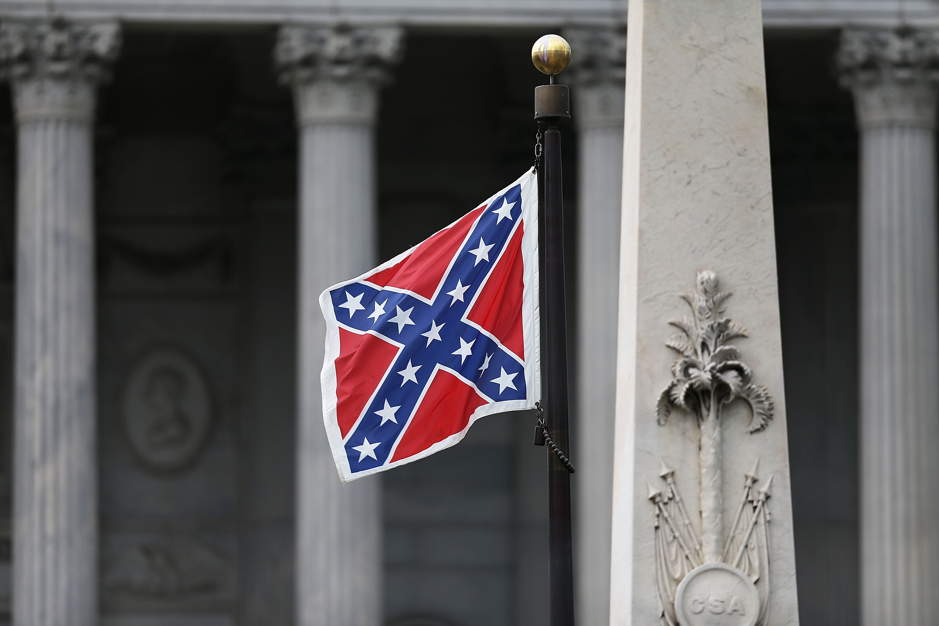 The Confederate flag flies on the Capitol grounds after South Carolina Gov. Nikki Haley announced that she will call for the Confederate flag to be removed in Columbia, S.C., on June 22, 2015.
